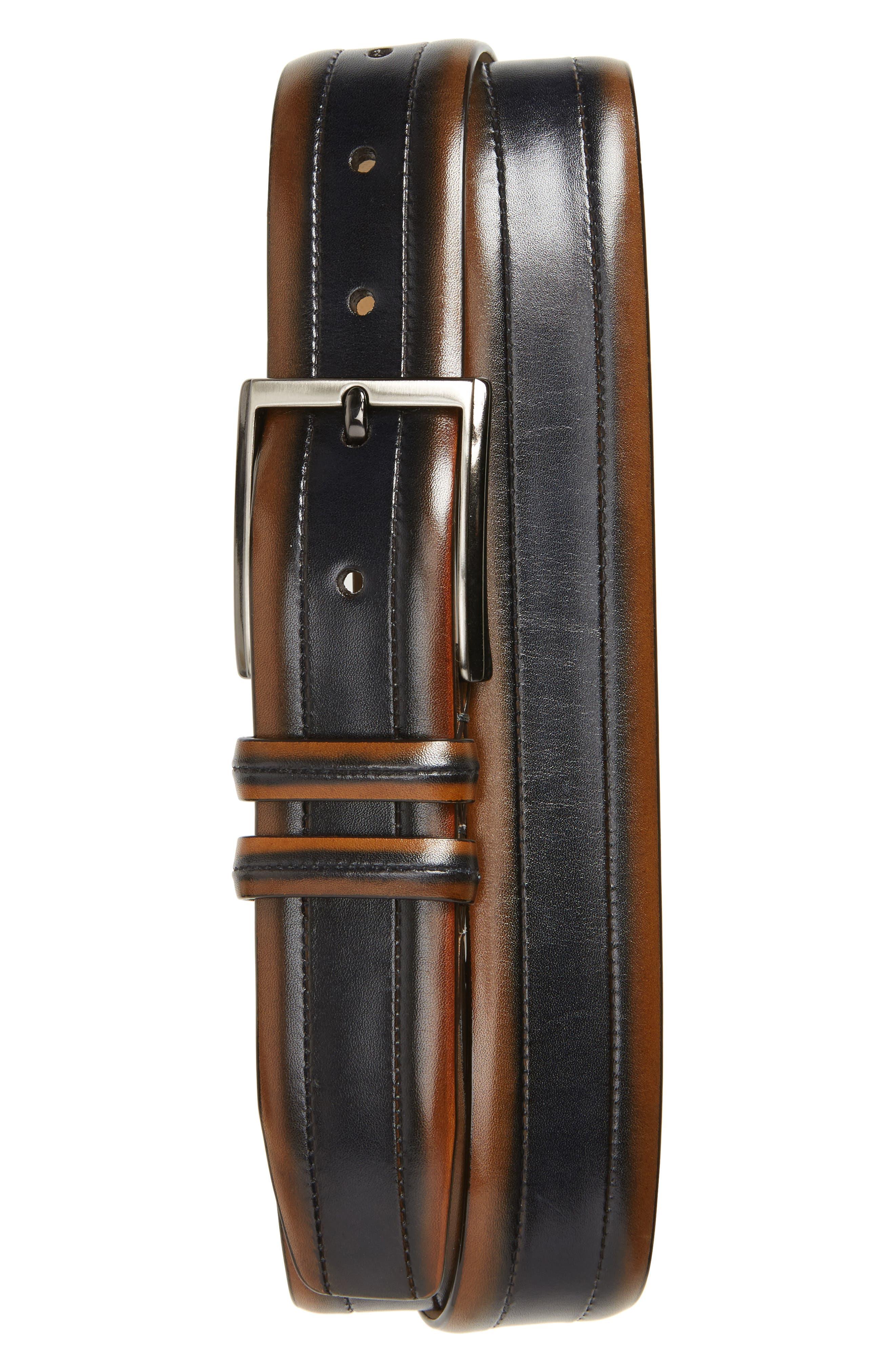 MEZLAN Palma Leather Belt, Main, color, TAN/ BLUE
