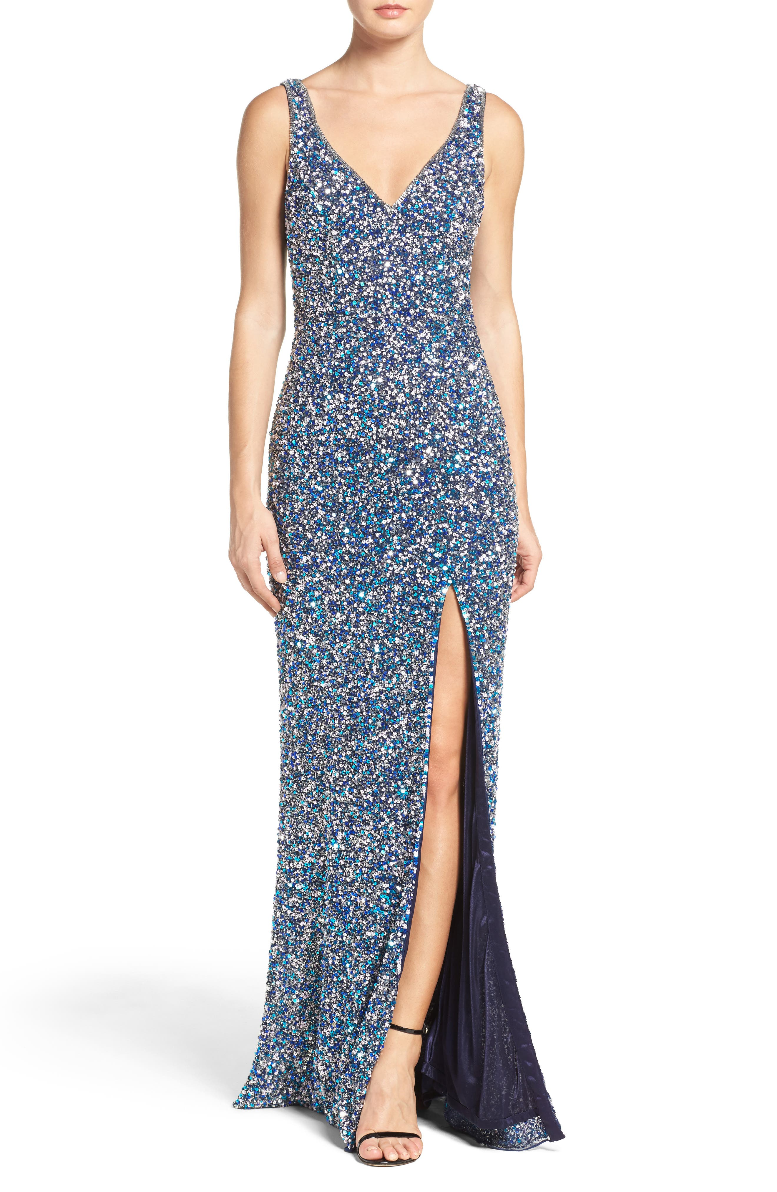MAC DUGGAL, Sequin Slit Gown, Main thumbnail 1, color, NAVY MULTI