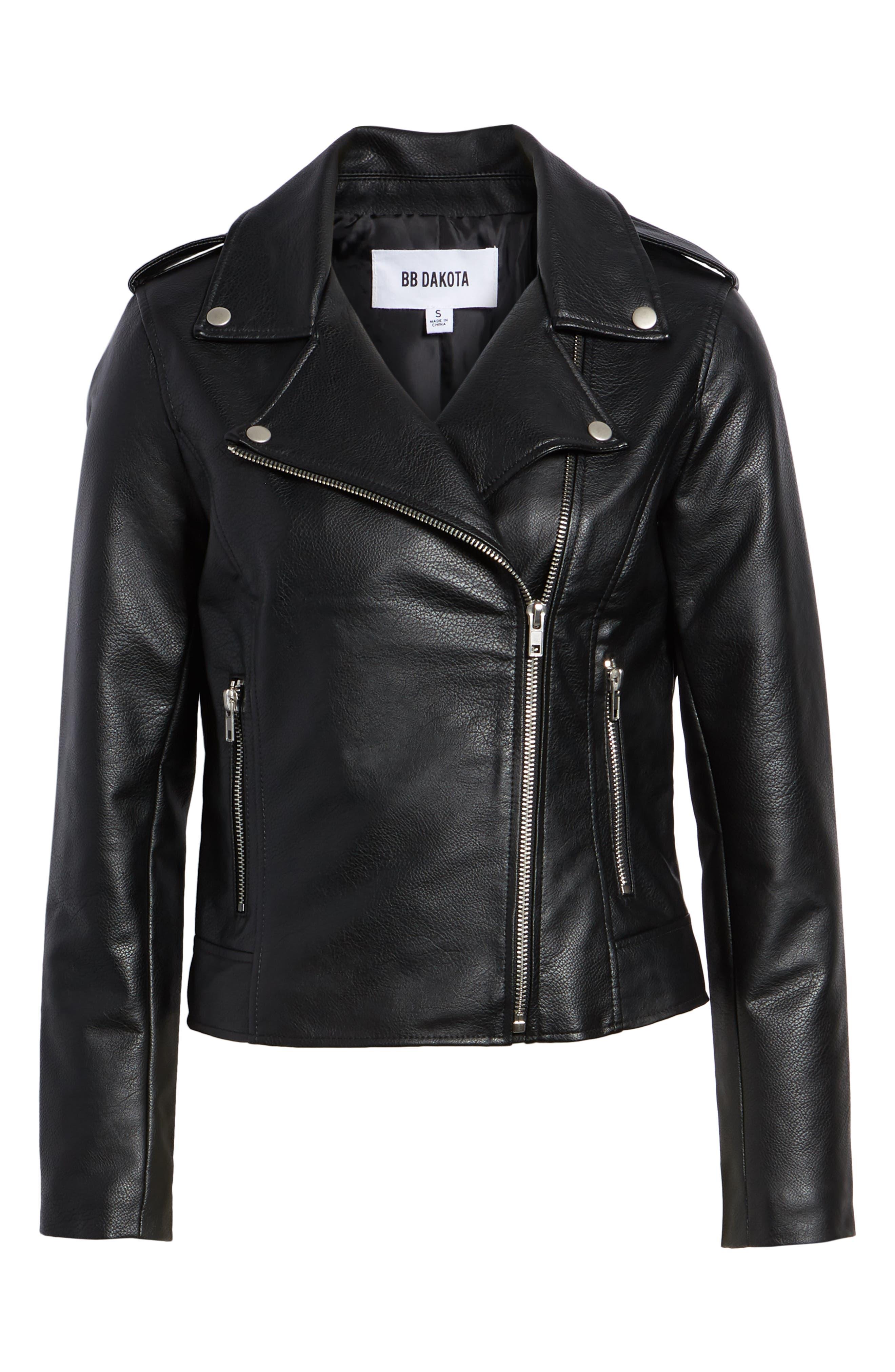 BB DAKOTA, Just Ride Faux Leather Jacket, Alternate thumbnail 6, color, BLACK