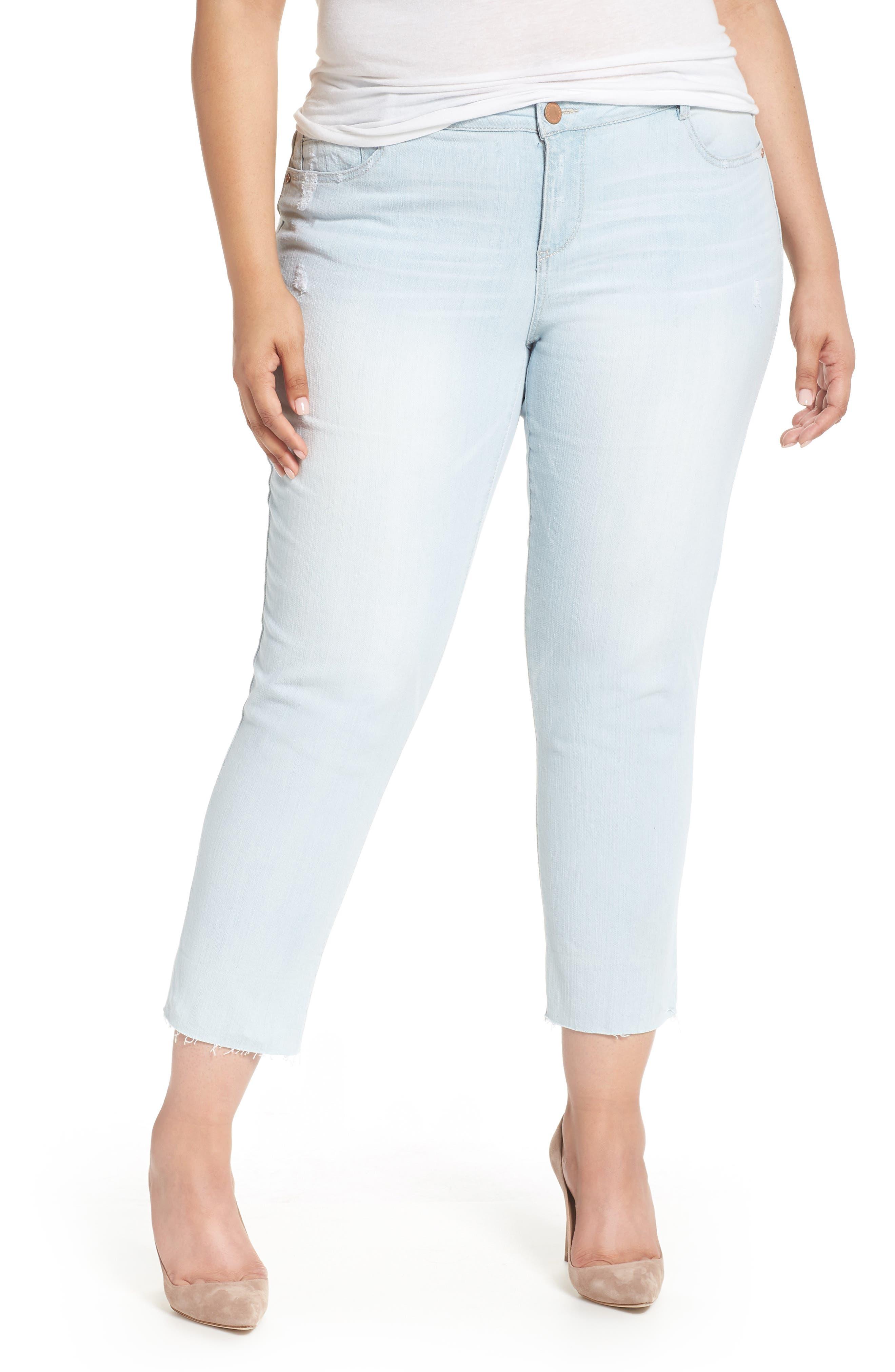 WIT & WISDOM, Flex-ellent Distressed Boyfriend Jeans, Main thumbnail 1, color, LIGHT BLUE