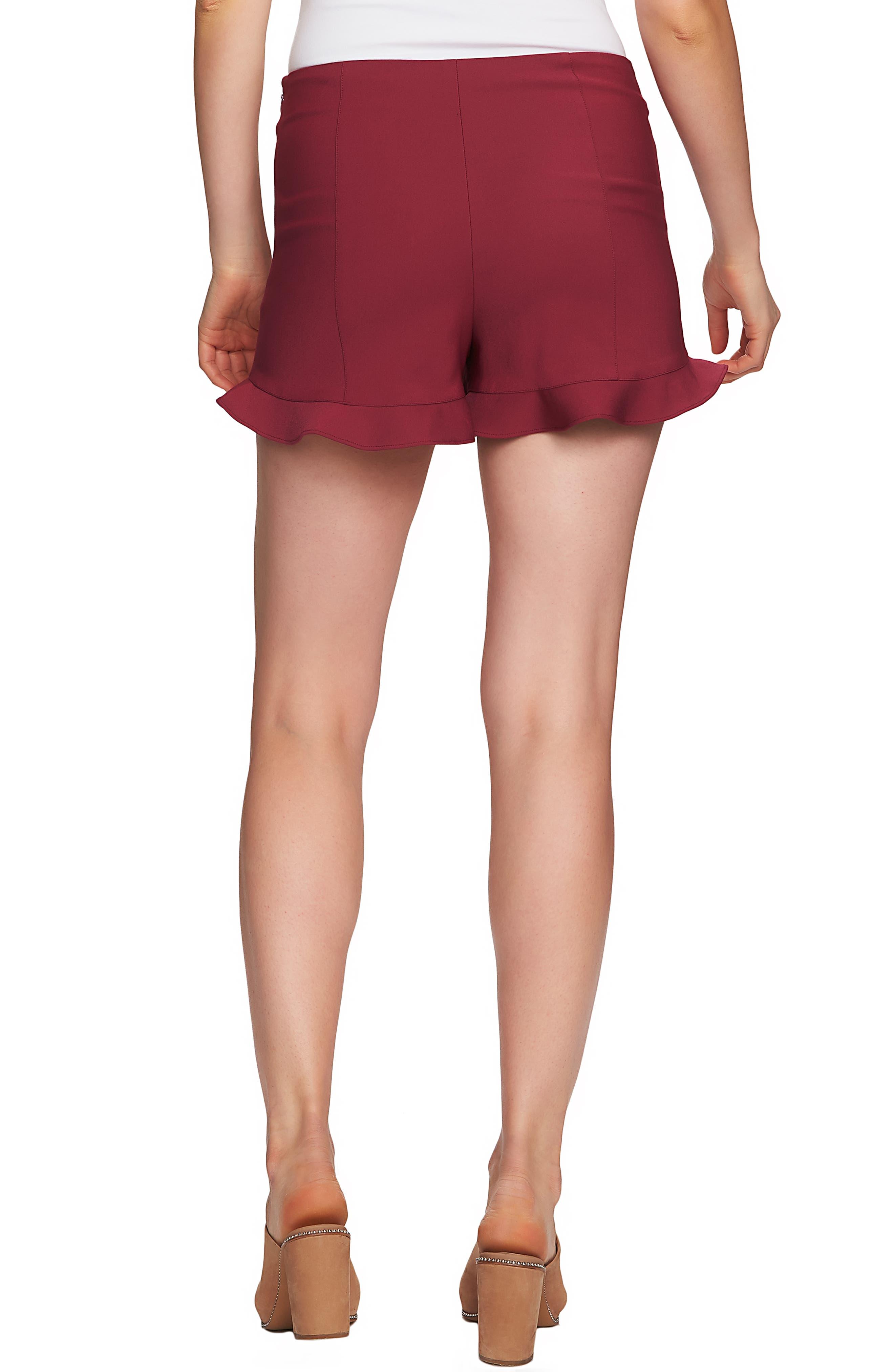 1.STATE, Ruffle Hem Flat Front Shorts, Alternate thumbnail 2, color, BERRY CHARM