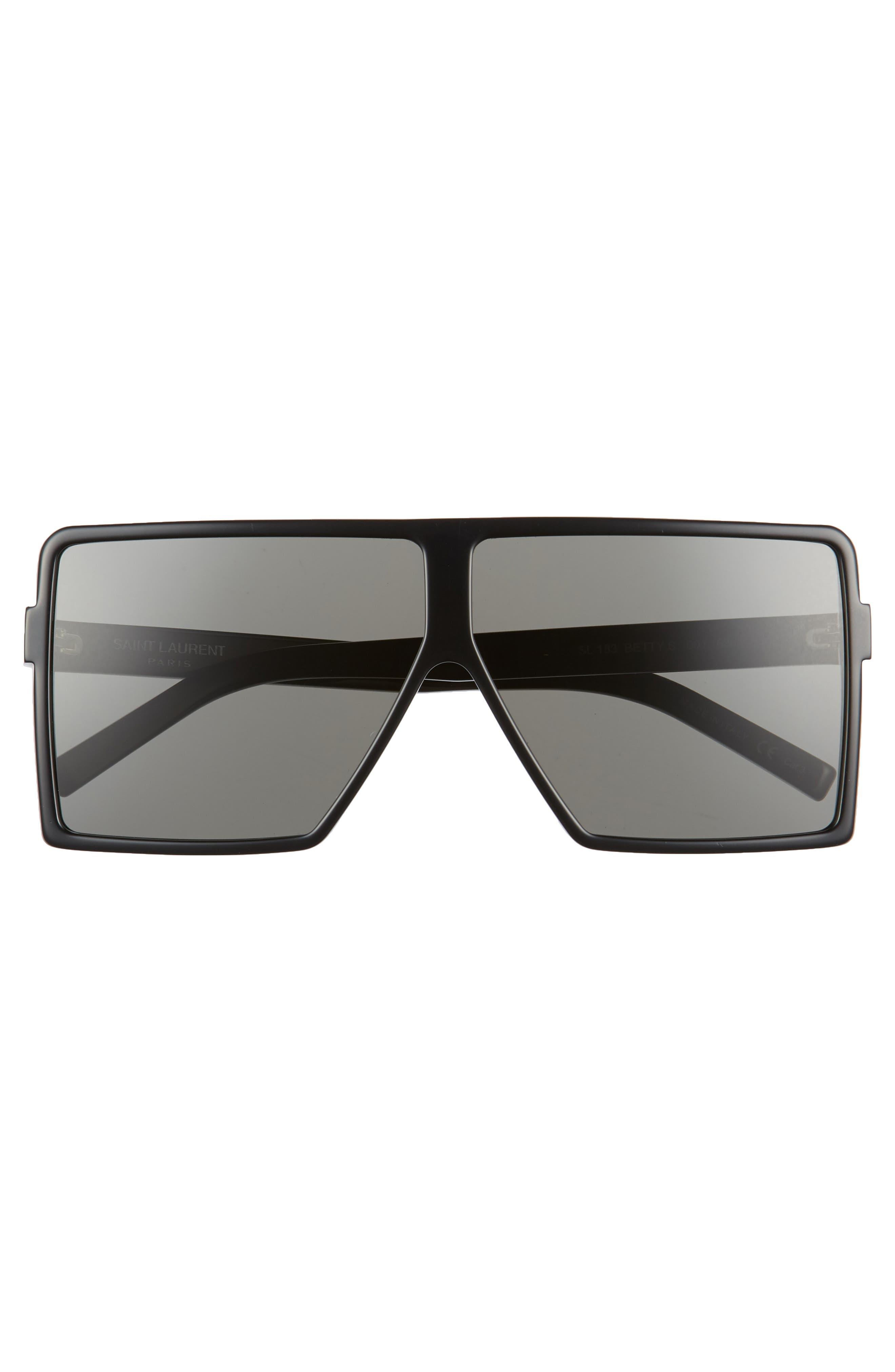 SAINT LAURENT, Betty 63mm Oversize Shield Sunglasses, Alternate thumbnail 3, color, BLACK