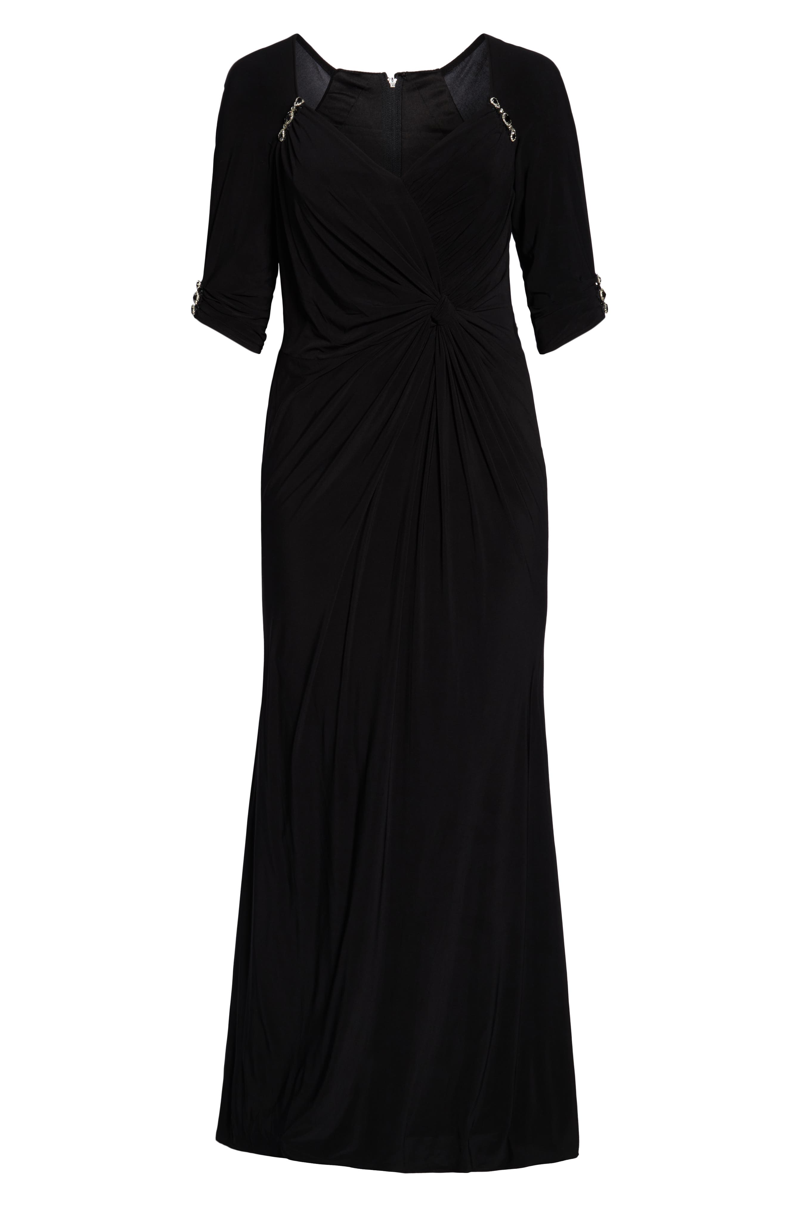 MAC DUGGAL, Crystal Embellished Twist Front Evening Dress, Alternate thumbnail 7, color, BLACK
