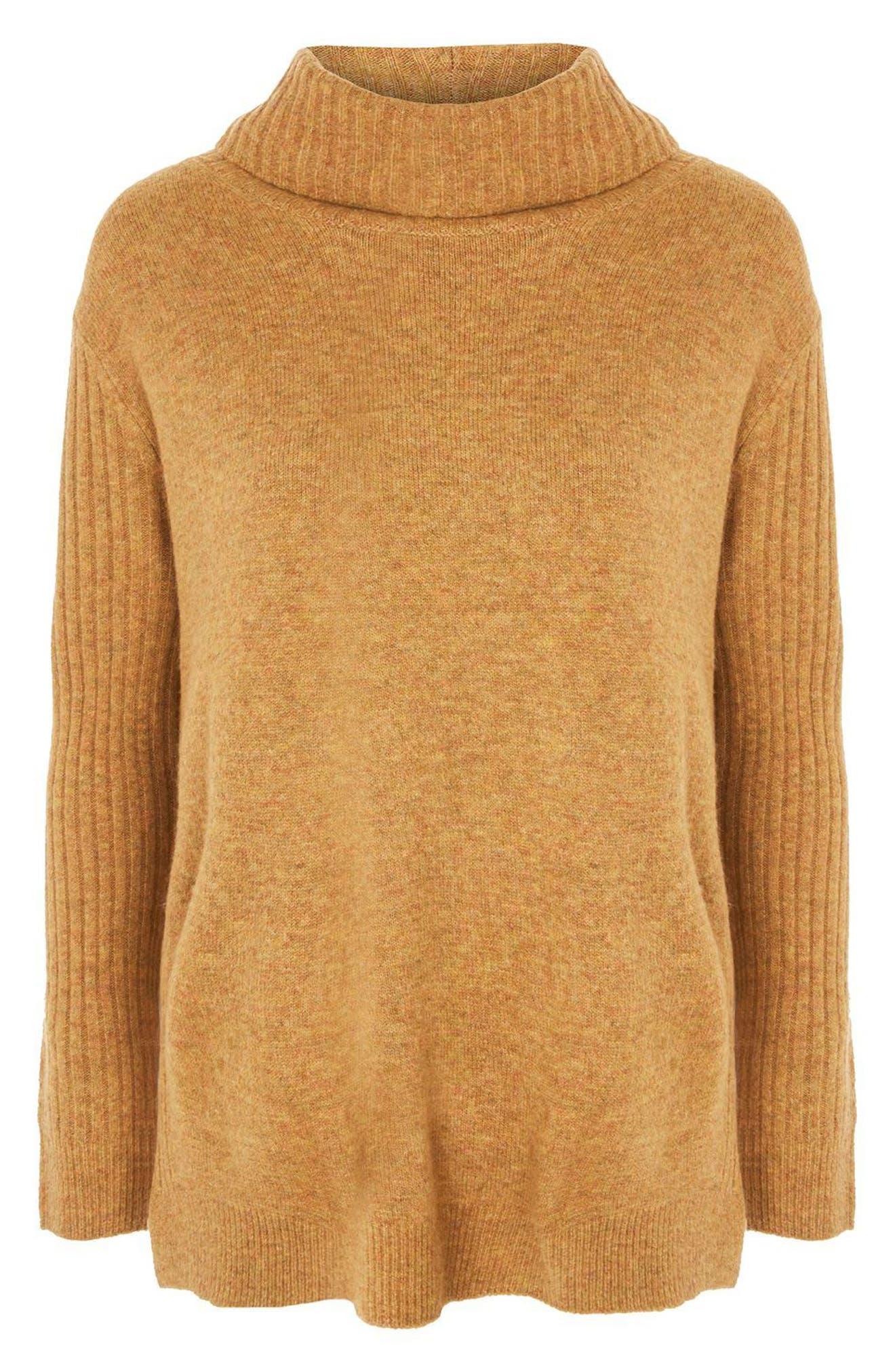 TOPSHOP, Oversize Turtleneck Sweater, Alternate thumbnail 2, color, 701