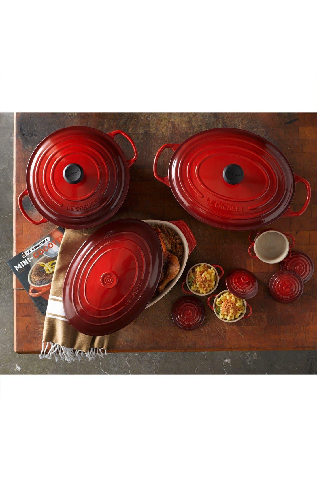 LE CREUSET, Four Mini Cocottes with Cookbook, Alternate thumbnail 2, color, CHERRY