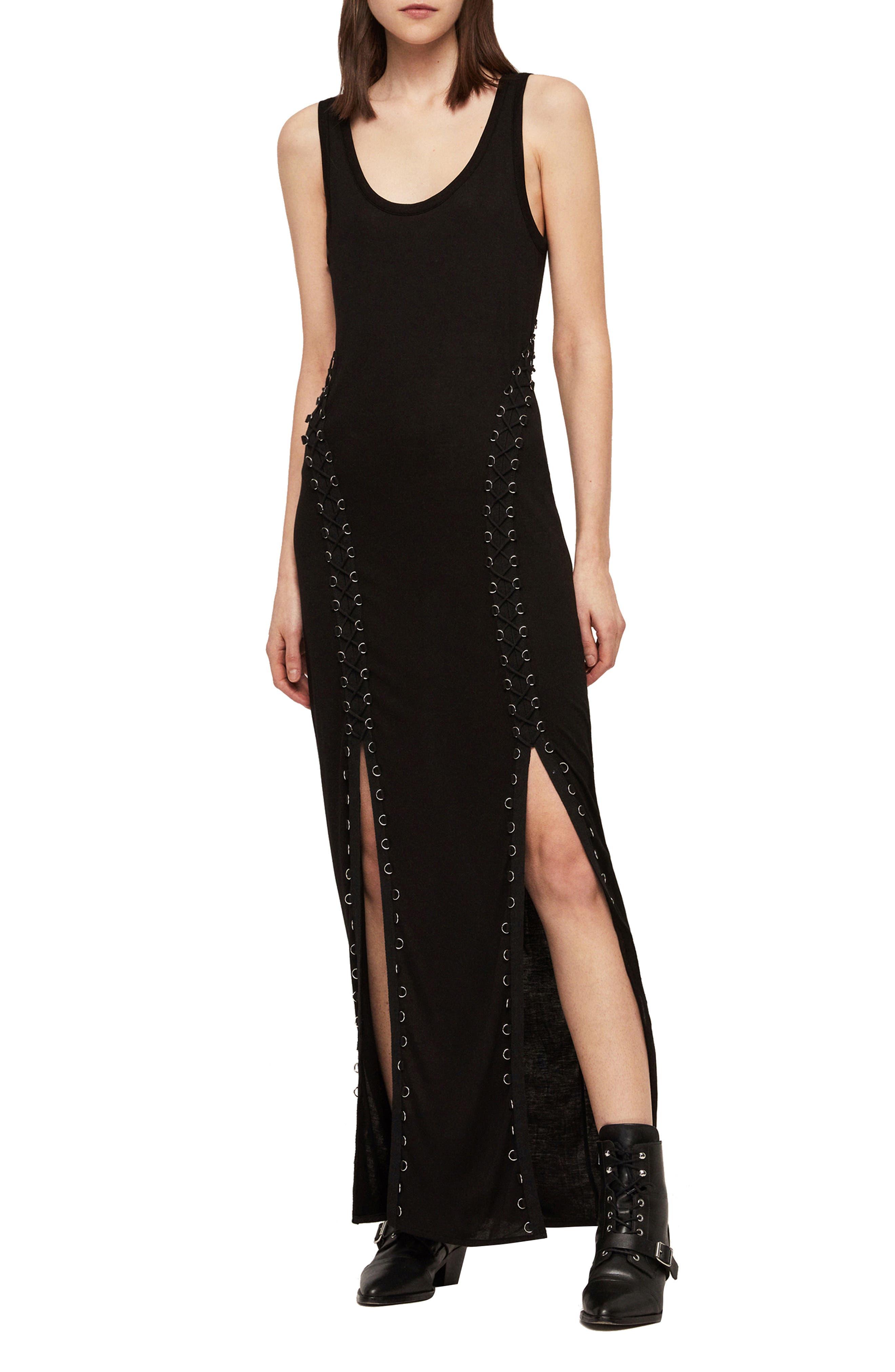 ALLSAINTS, Daner Lace-Up Side Maxi Dress, Main thumbnail 1, color, BLACK