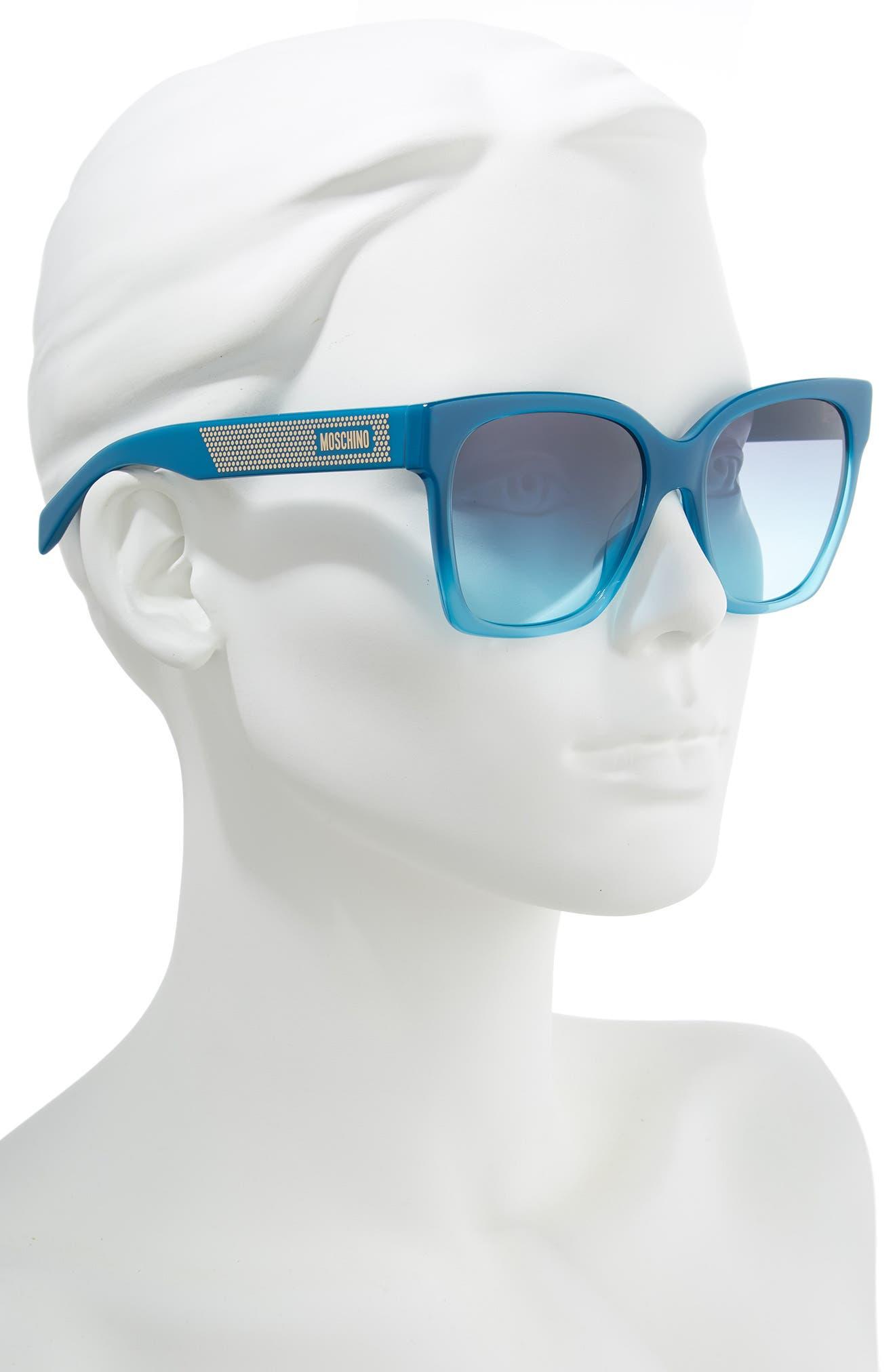MOSCHINO, 56mm Sunglasses, Alternate thumbnail 2, color, TEAL TEA