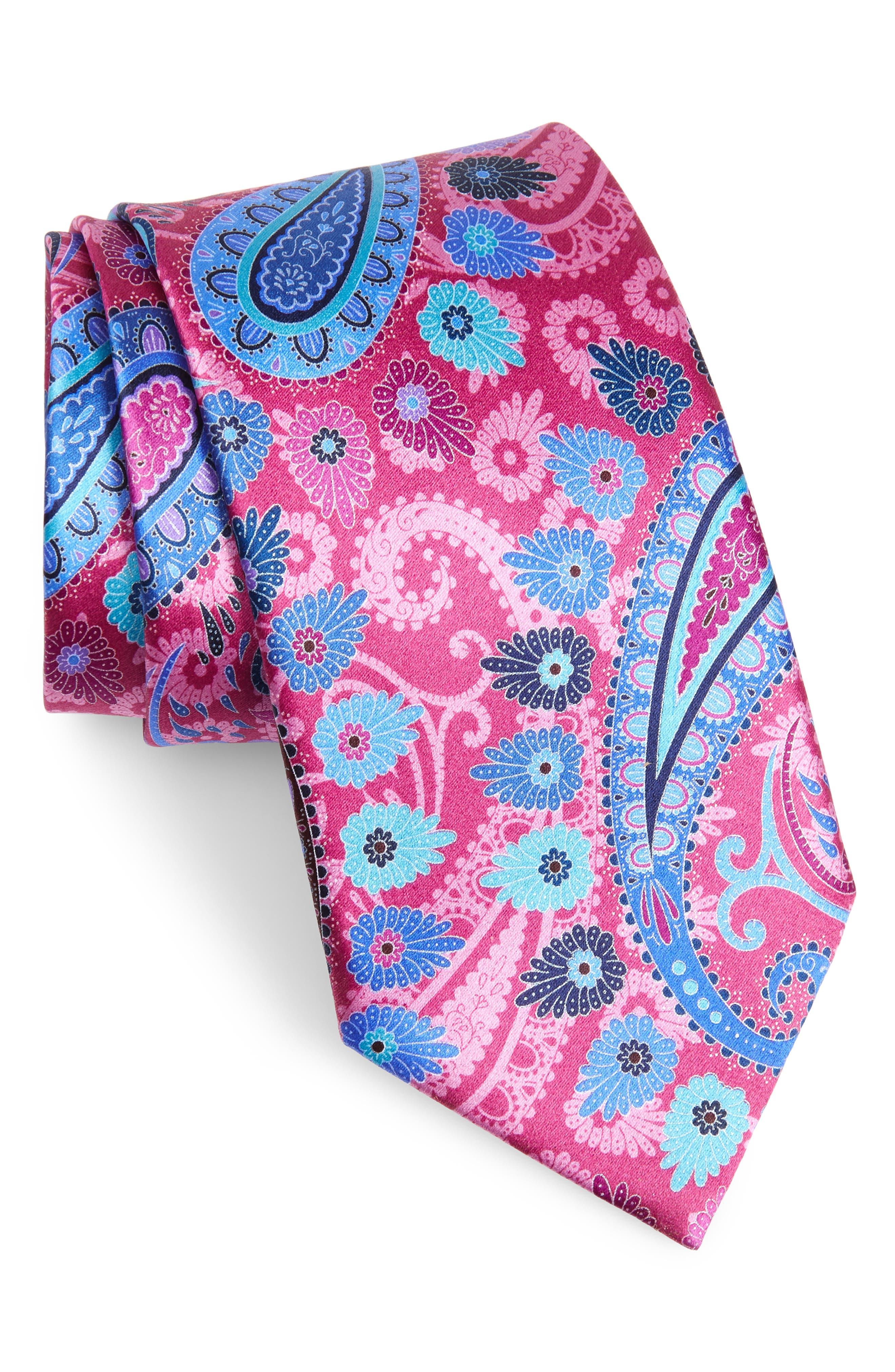 ERMENEGILDO ZEGNA, Quindici Paisley Silk Tie, Main thumbnail 1, color, PINK