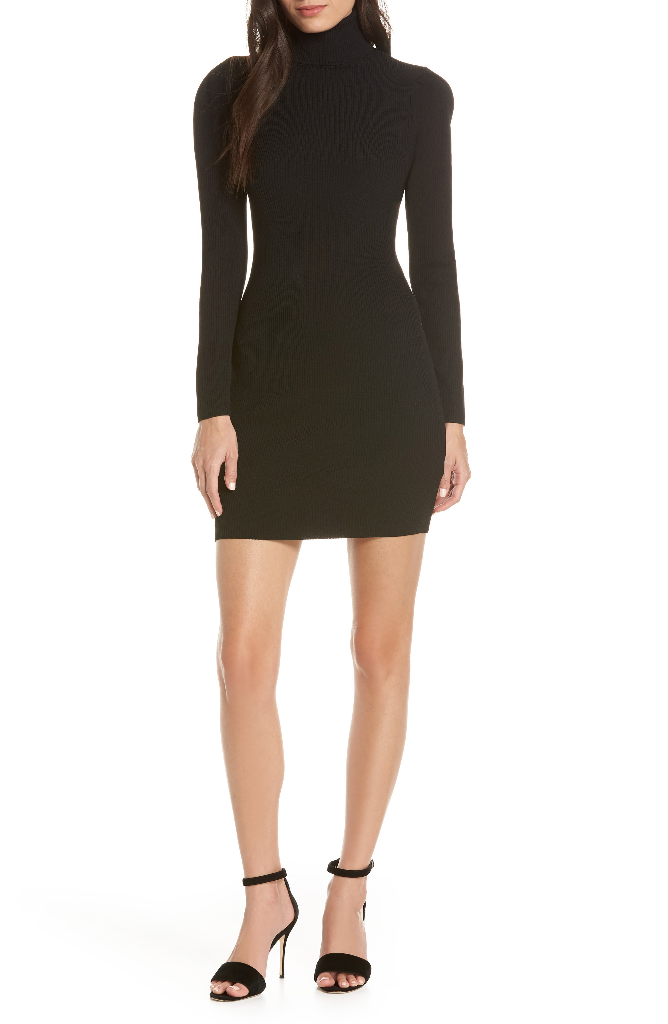 ALI & JAY, Best of My Love Turtleneck Sweater Dress, Main thumbnail 1, color, 001