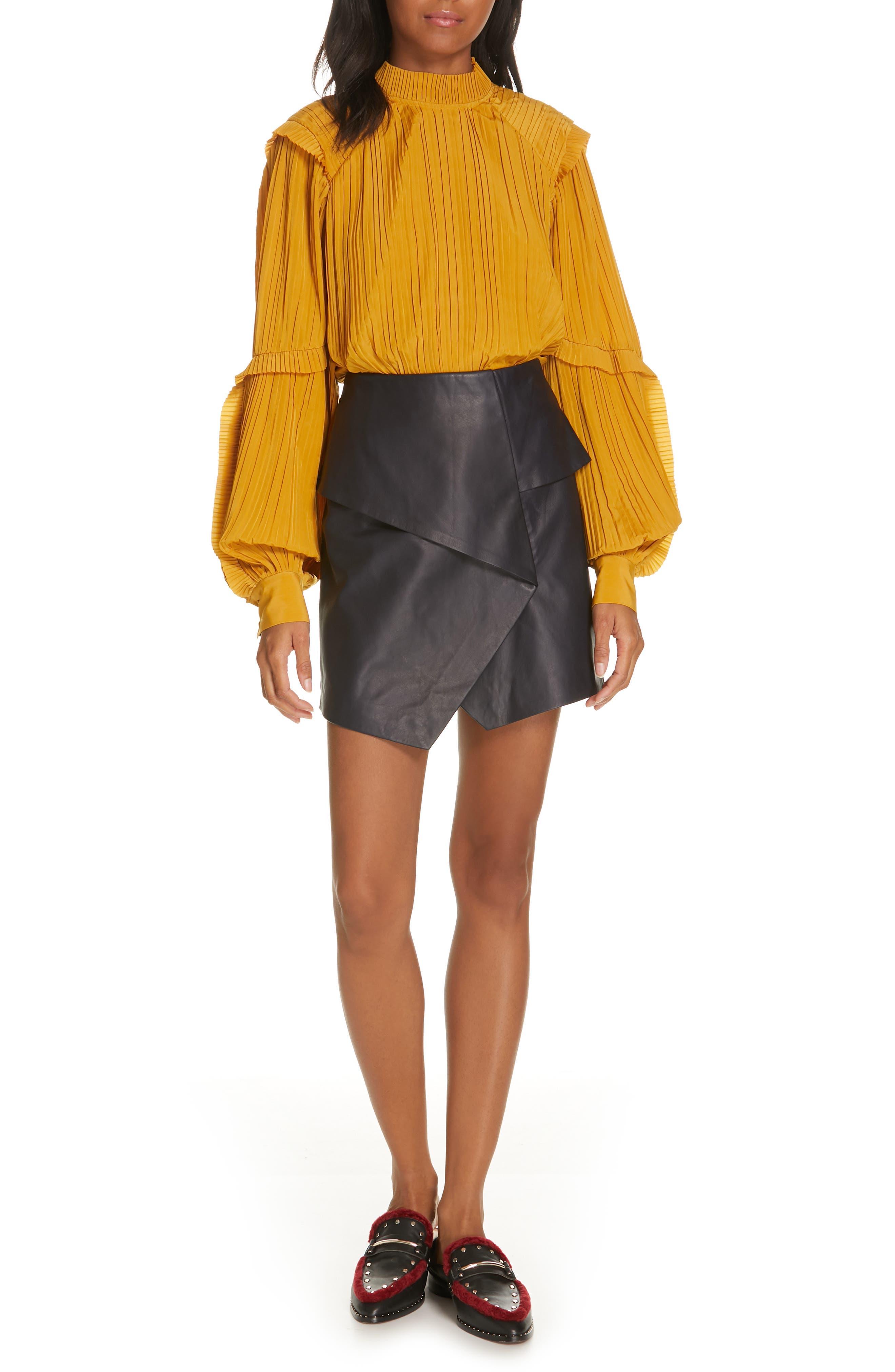 JOIE, Akirako Leather Miniskirt, Alternate thumbnail 7, color, MIDNIGHT
