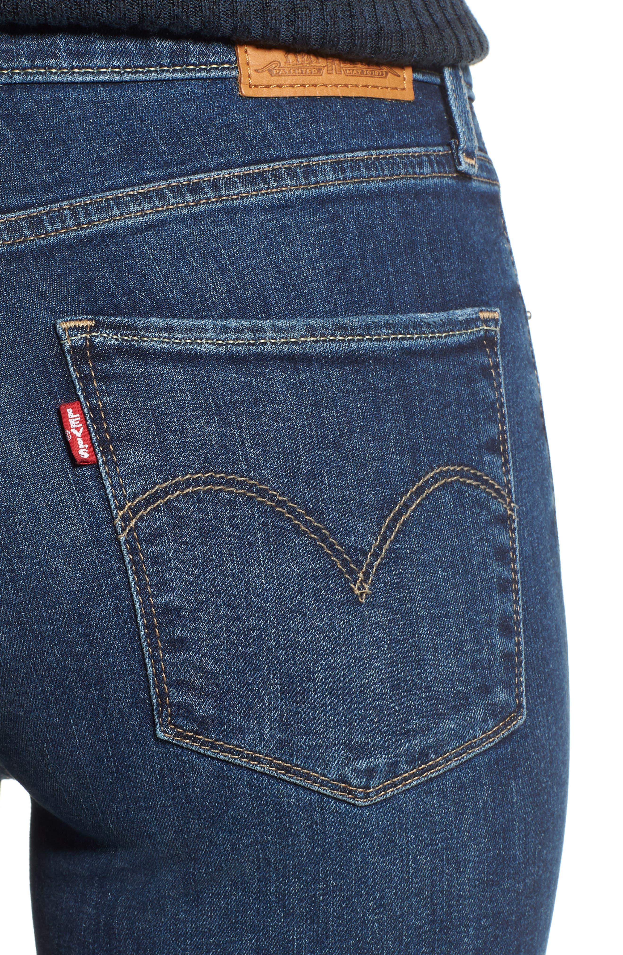 LEVI'S<SUP>®</SUP>, 721<sup>™</sup> Ripped High Waist Skinny Jeans, Alternate thumbnail 5, color, INDIGO LUNA