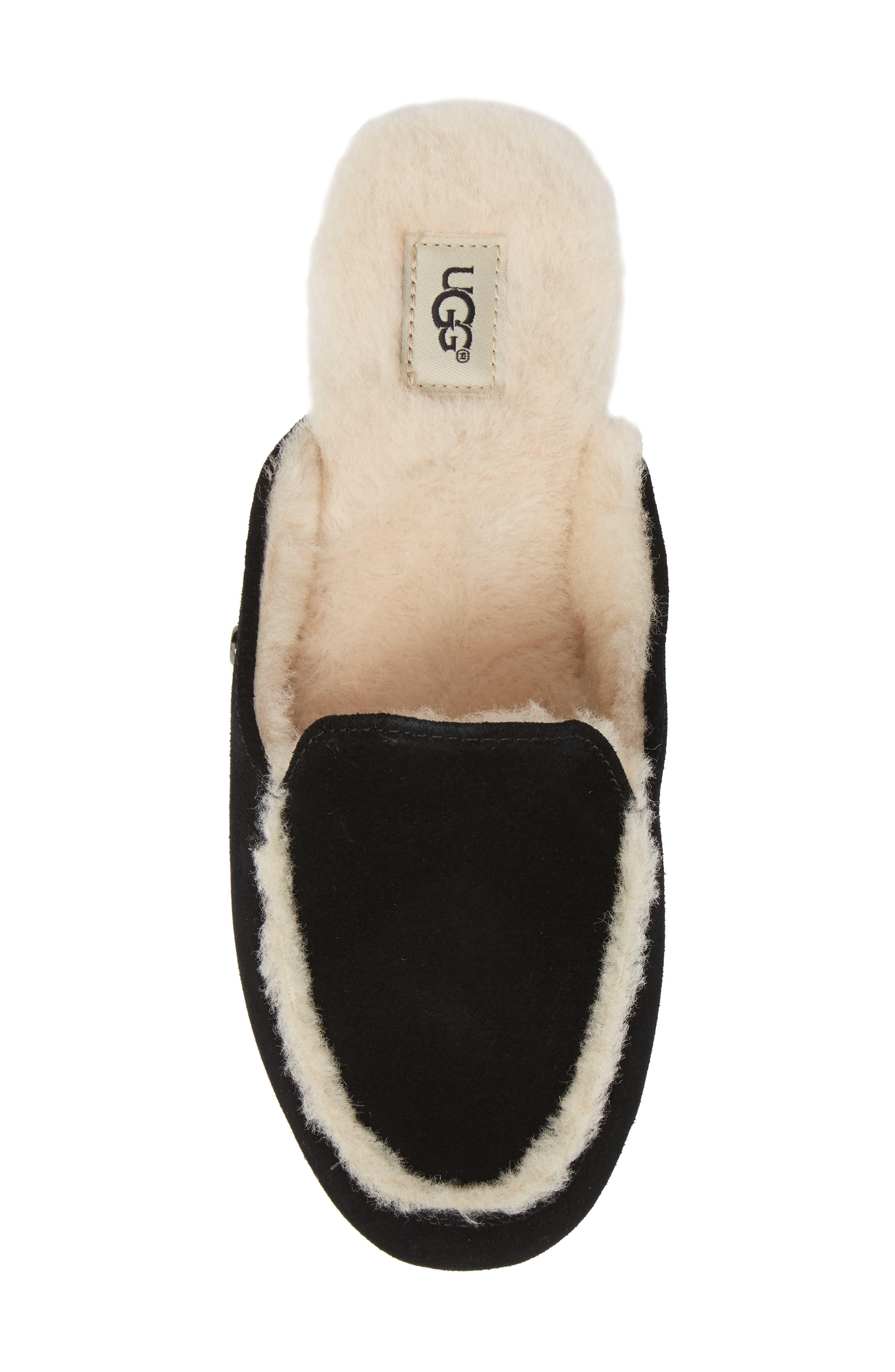 UGG<SUP>®</SUP>, Lane Genuine Shearling Slipper, Alternate thumbnail 5, color, BLACK SUEDE