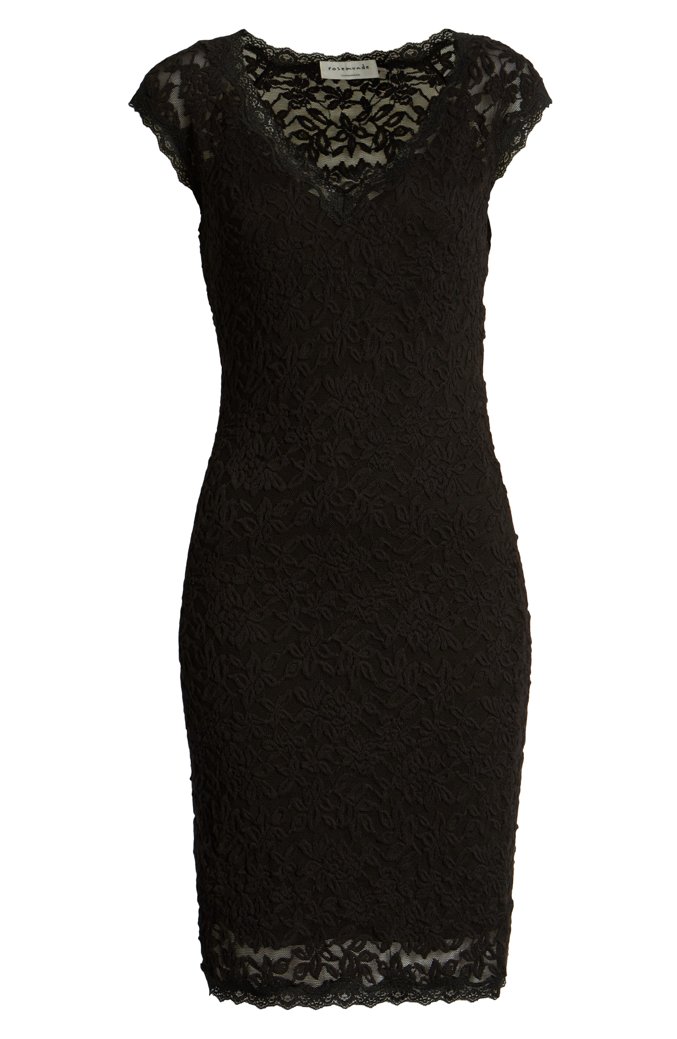ROSEMUNDE, Delicia V-Neck Dress, Alternate thumbnail 7, color, BLACK