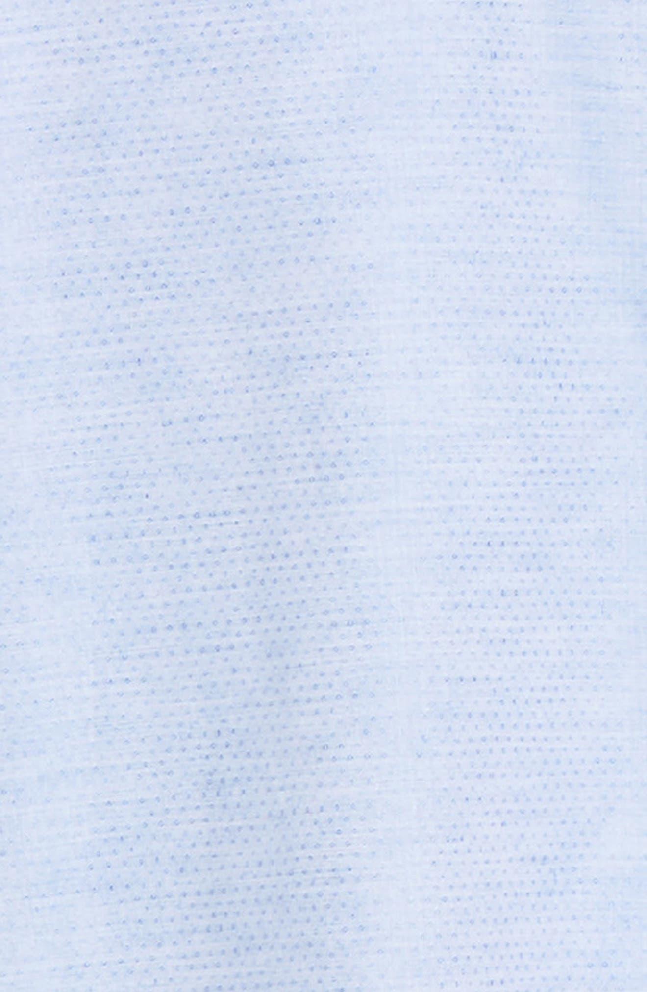 ZACHARY PRELL, Alfano Regular Fit Cotton & Linen Sport Shirt, Alternate thumbnail 6, color, LT BLUE