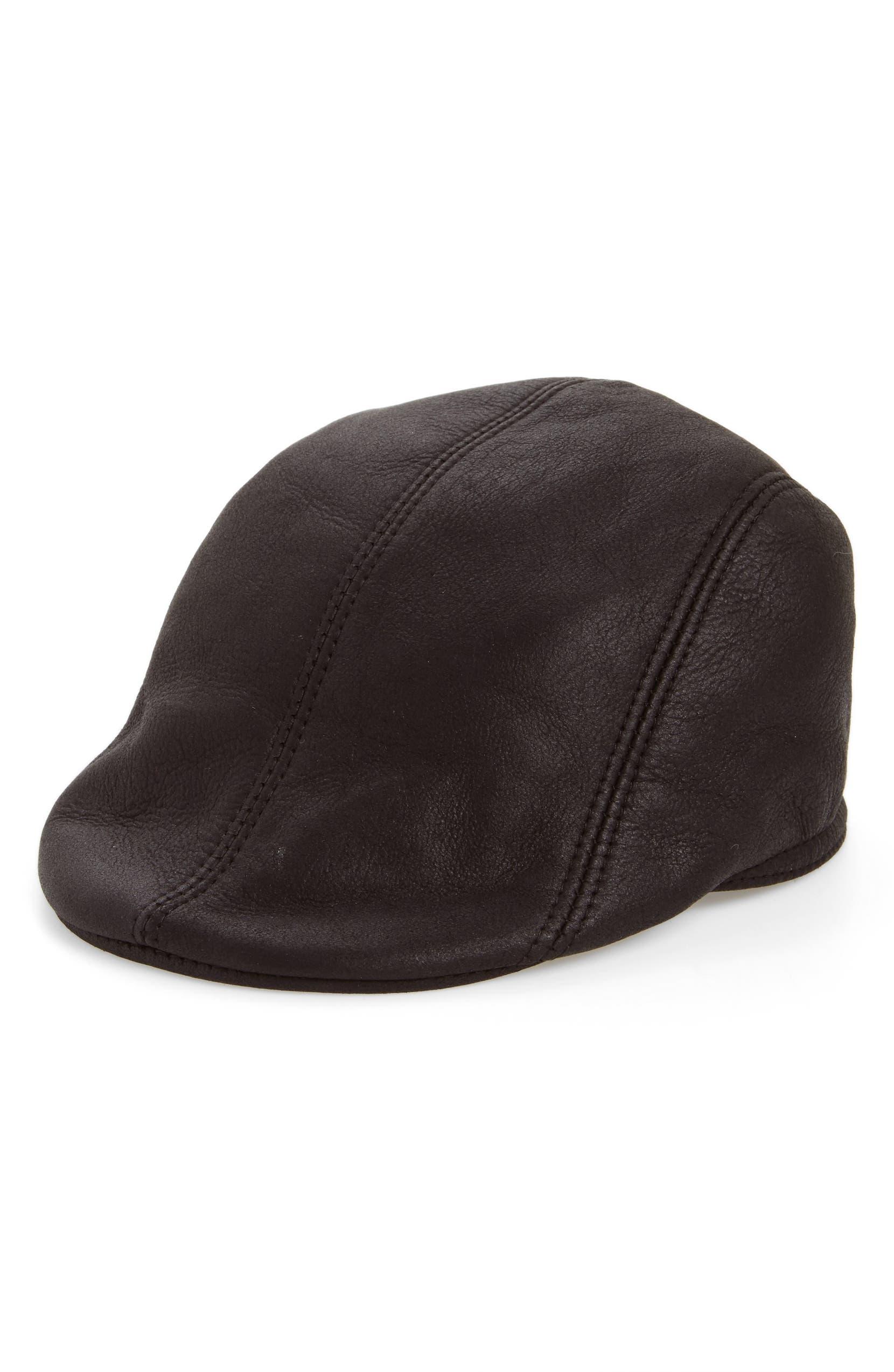 efe6f7b92c5 Crown Cap Genuine Shearling Leather Driving Cap