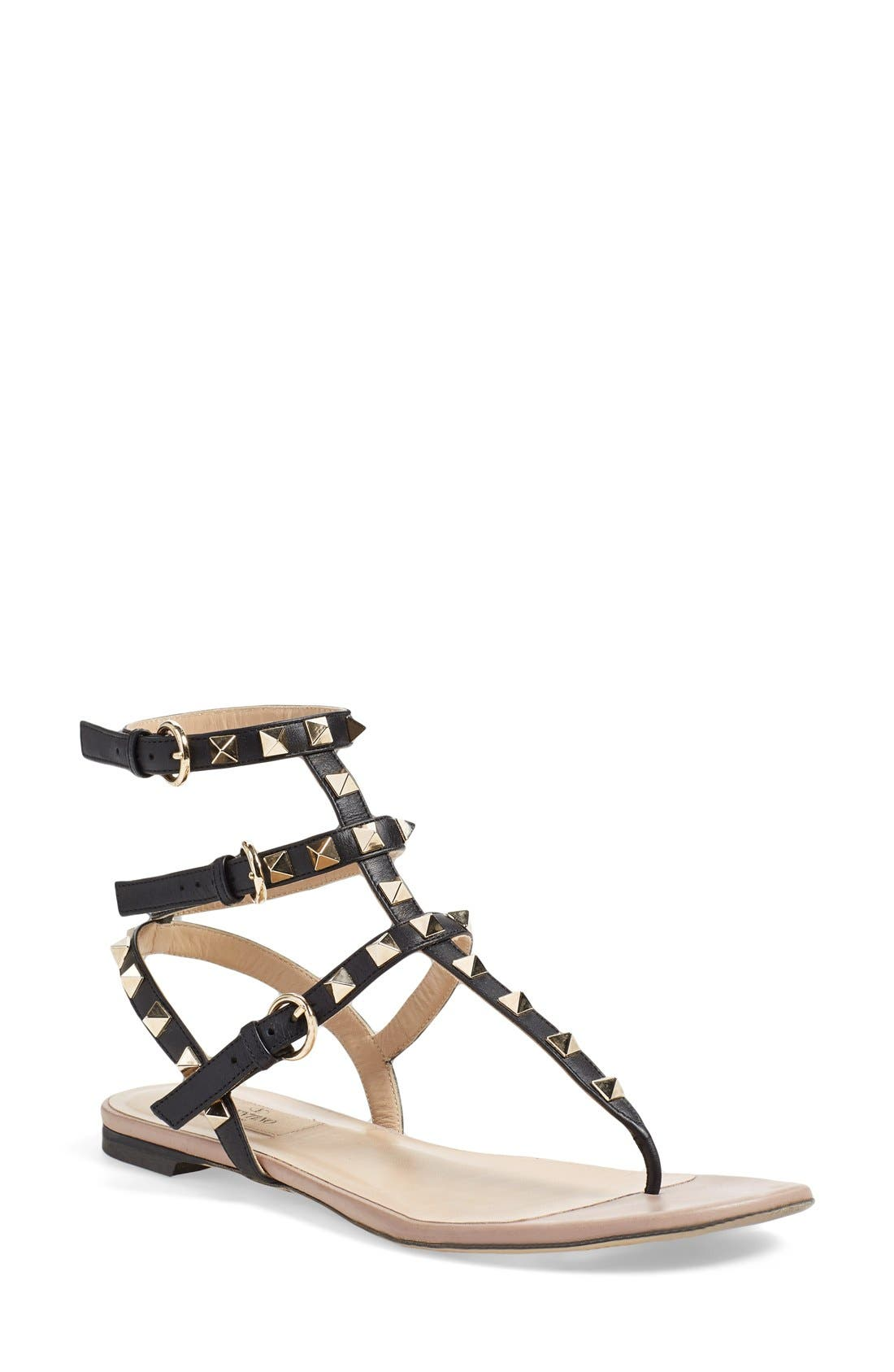 VALENTINO GARAVANI Rockstud Cage Thong, Main, color, BLACK LEATHER