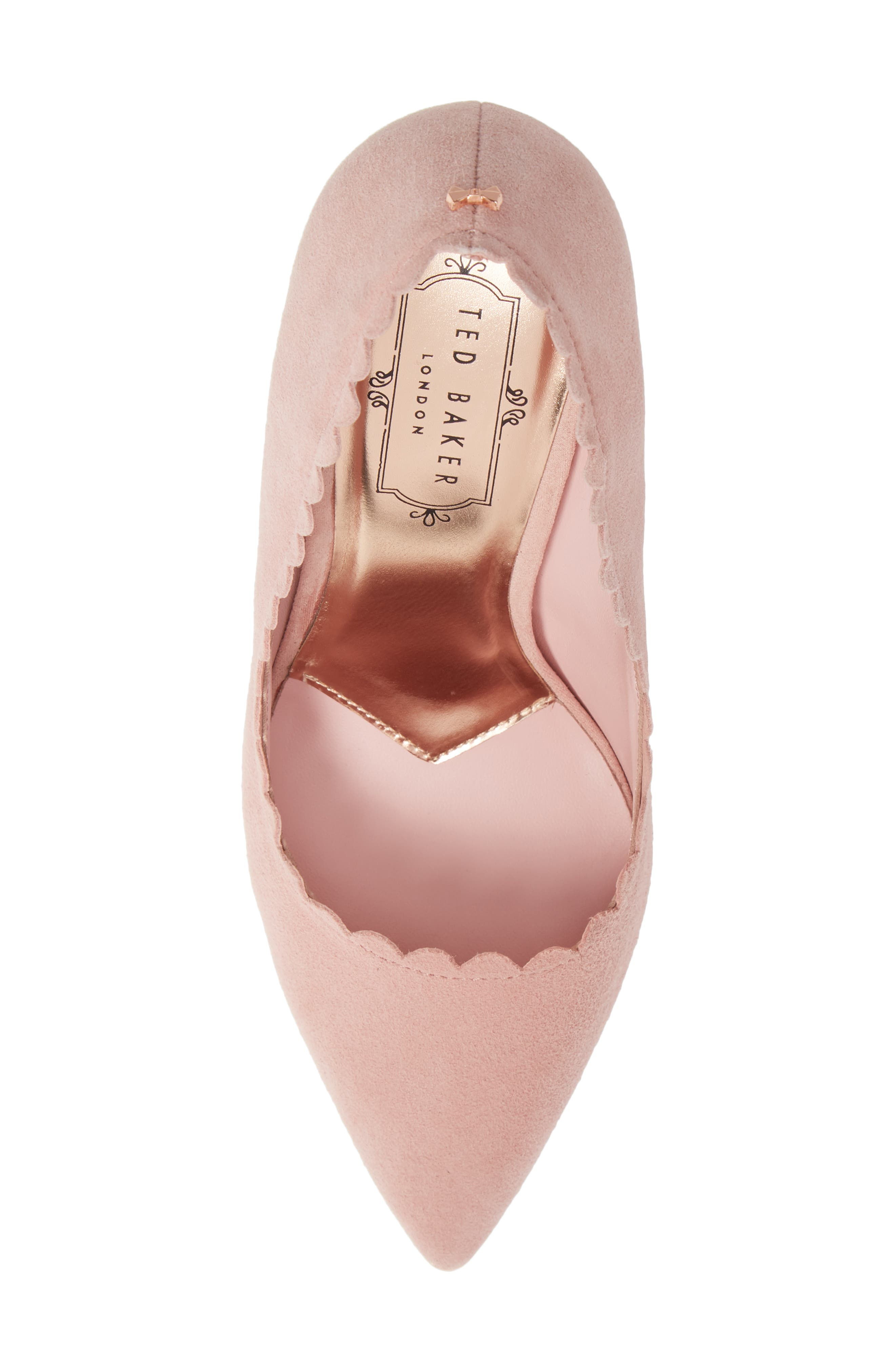 TED BAKER LONDON, Sloana Pointy Toe Pump, Alternate thumbnail 5, color, PINK BLOSSOM SUEDE