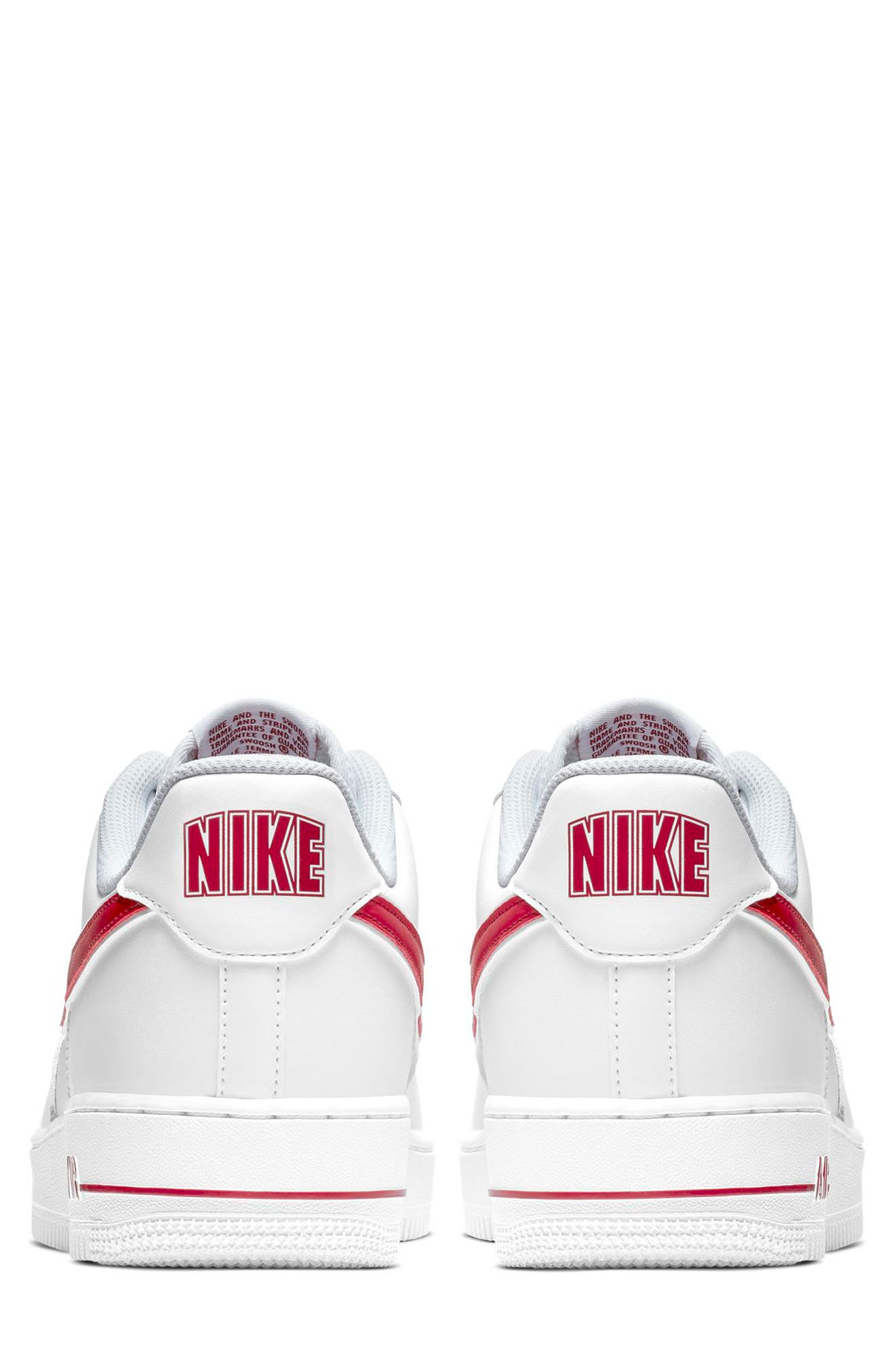 NIKE, Air Force 1 '07 3 Sneaker, Alternate thumbnail 5, color, WHITE/ GYM RED