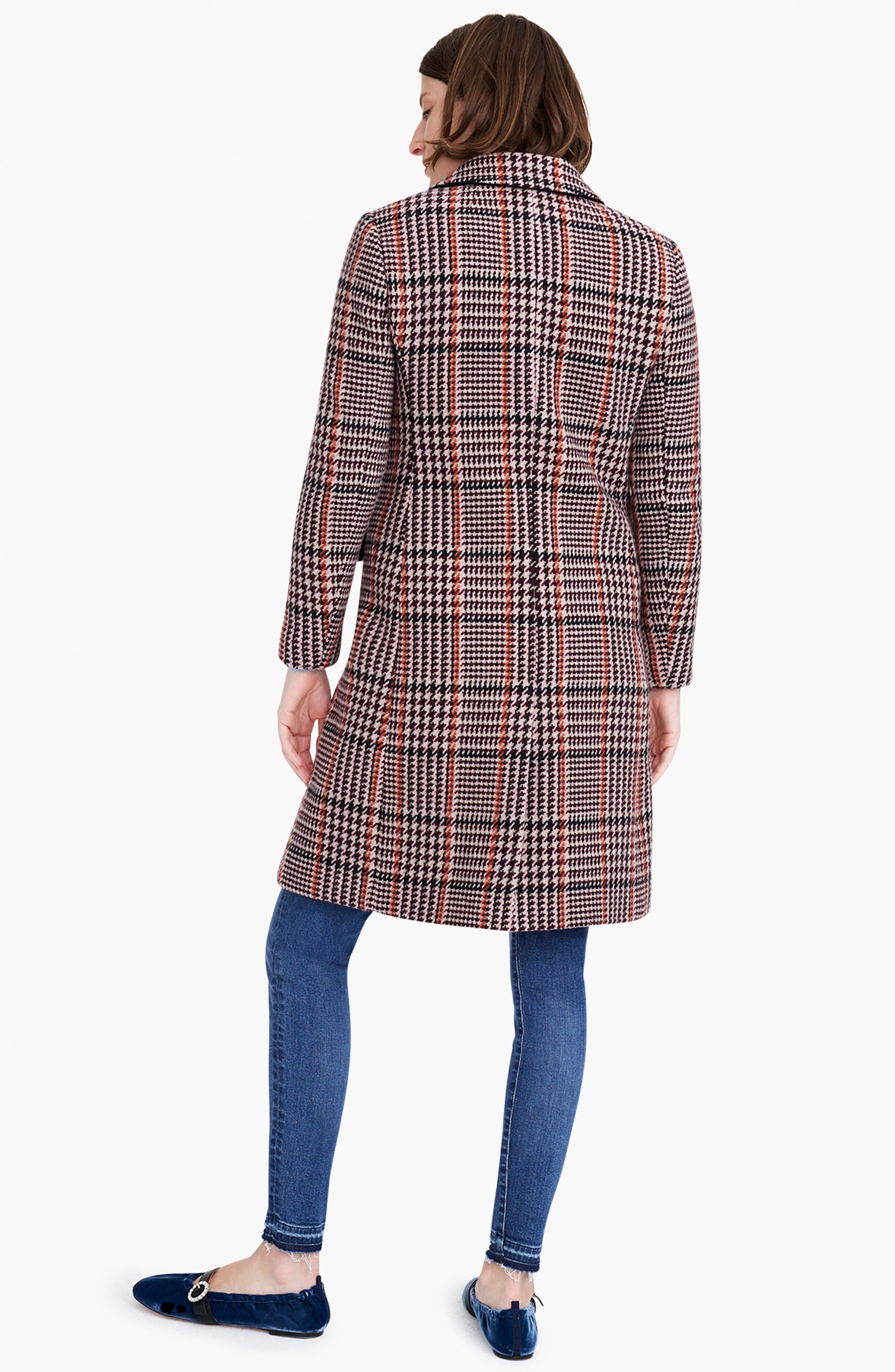 J.CREW, Plaid Single Breasted Topcoat, Alternate thumbnail 8, color, 600