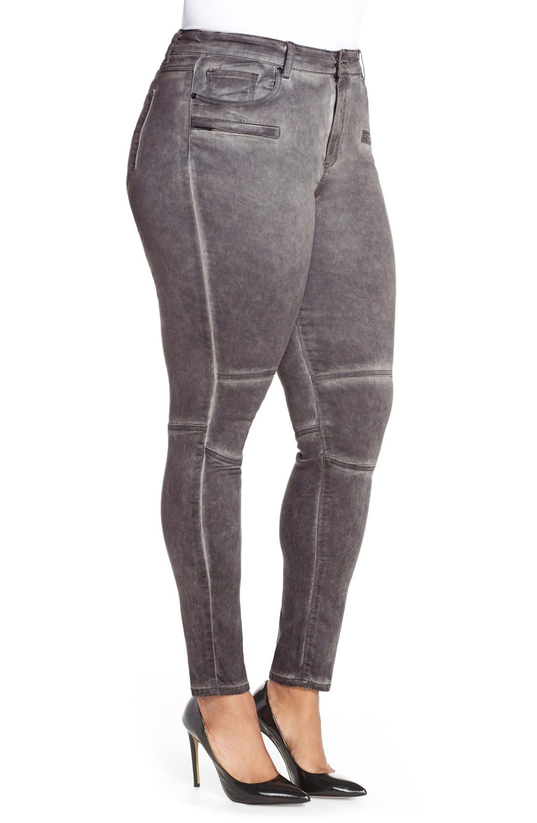 CITY CHIC, 'Silver' Stretch Skinny Jeans, Alternate thumbnail 2, color, 021
