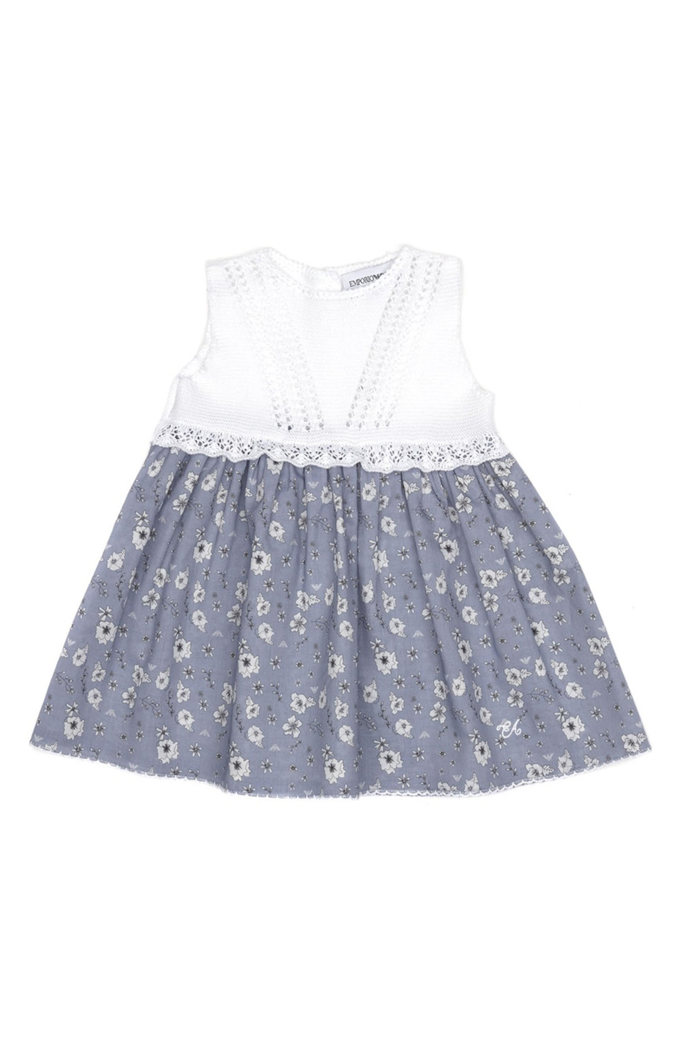 ARMANI JUNIOR Sleeveless Floral Print Dress, Main, color, FANT.TURCHESE