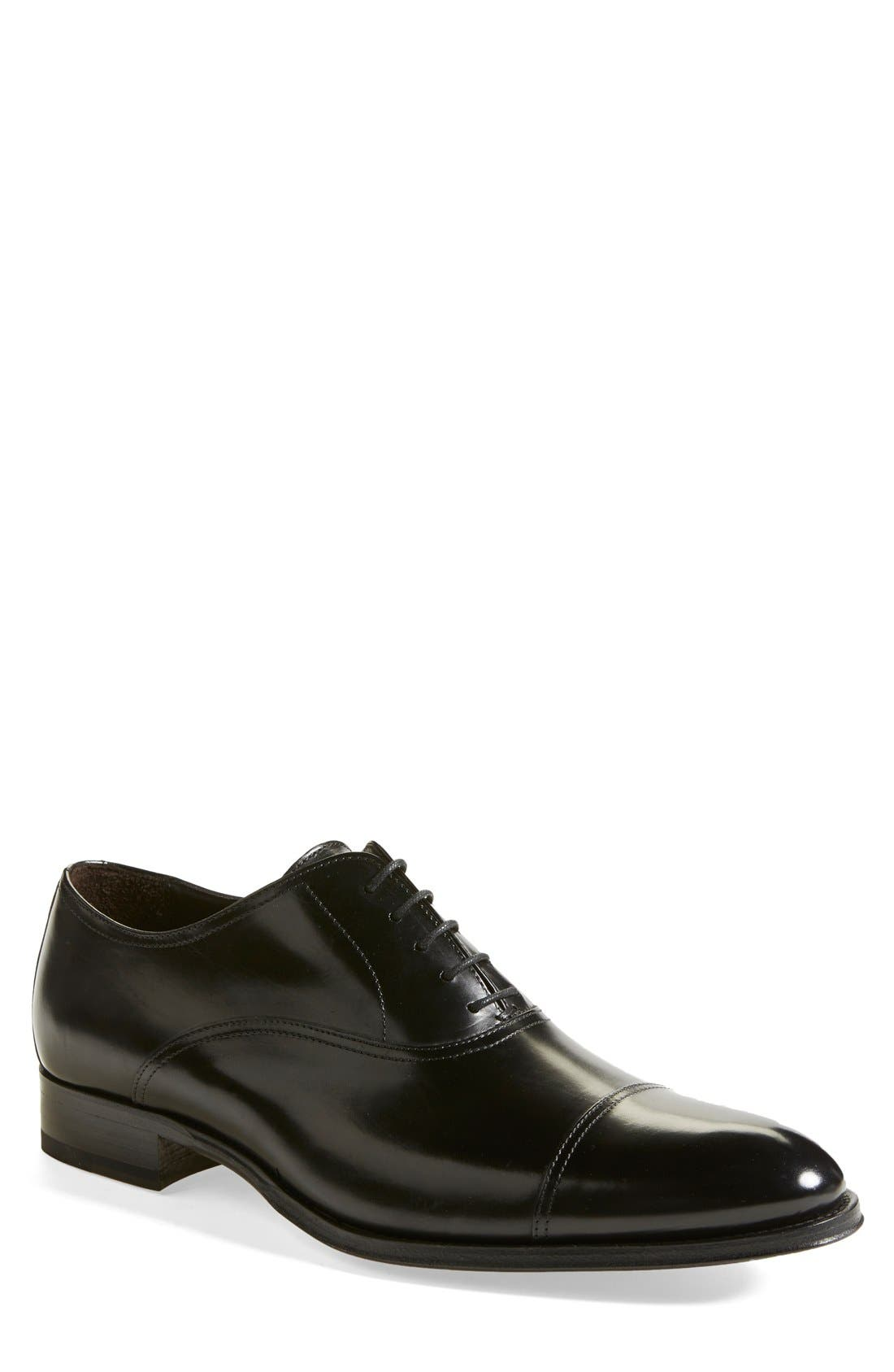 TO BOOT NEW YORK, Brandon Cap Toe Oxford, Main thumbnail 1, color, BLACK LEATHER