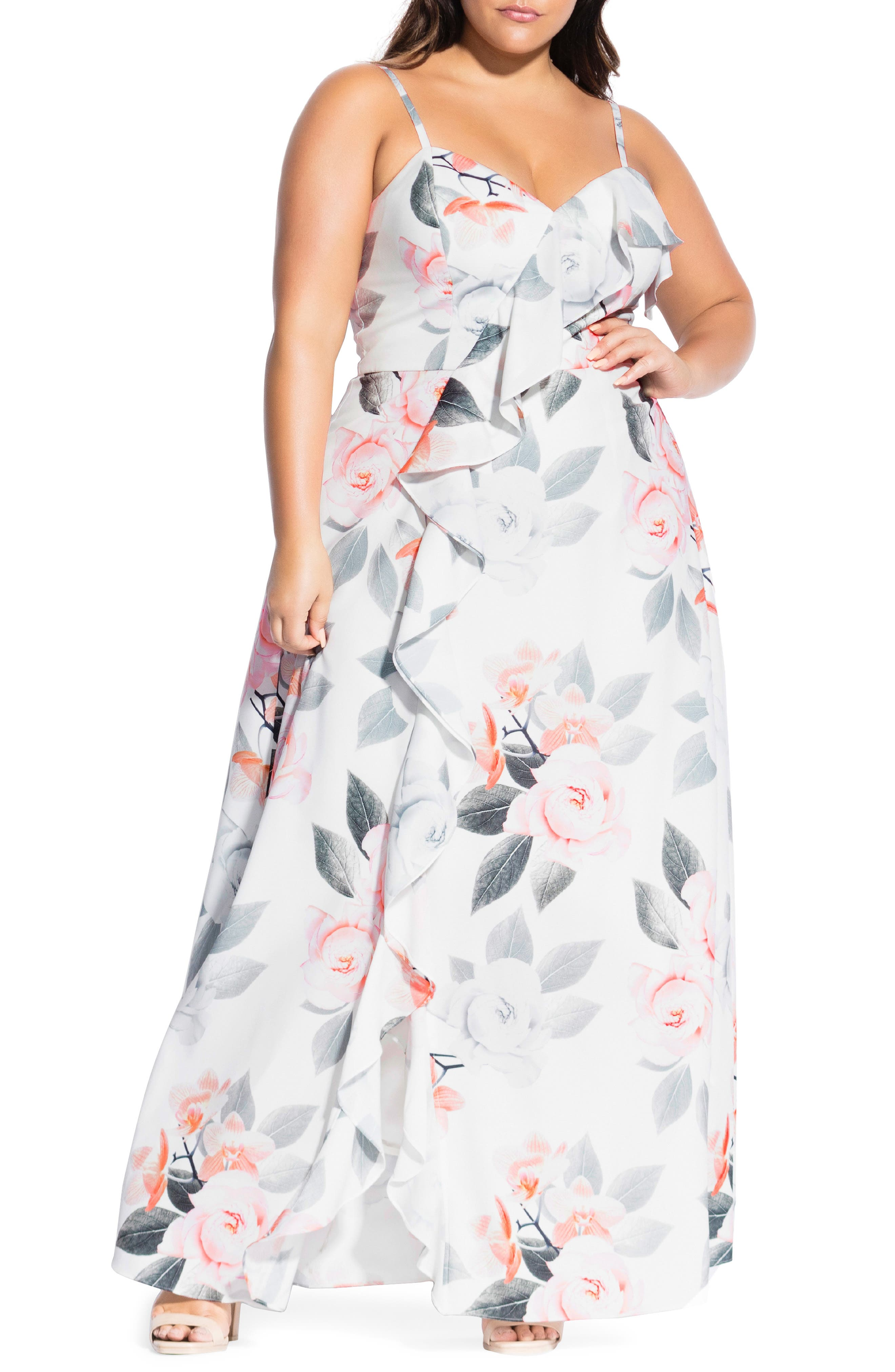 Plus Size City Chic Delicate Orchid Maxi Dress, White