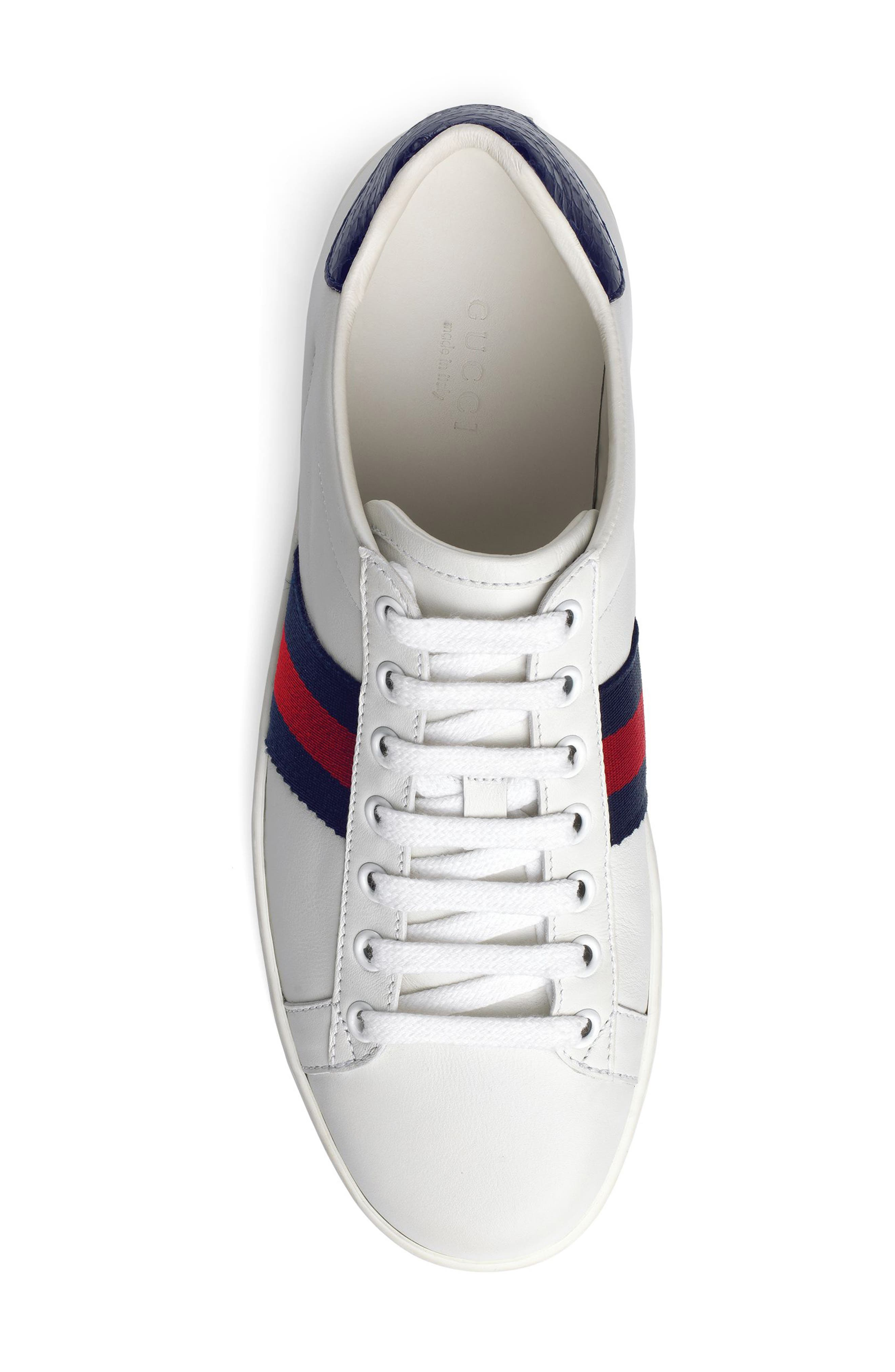 GUCCI, 'New Ace' Sneaker, Alternate thumbnail 4, color, WHITE/ BLUE