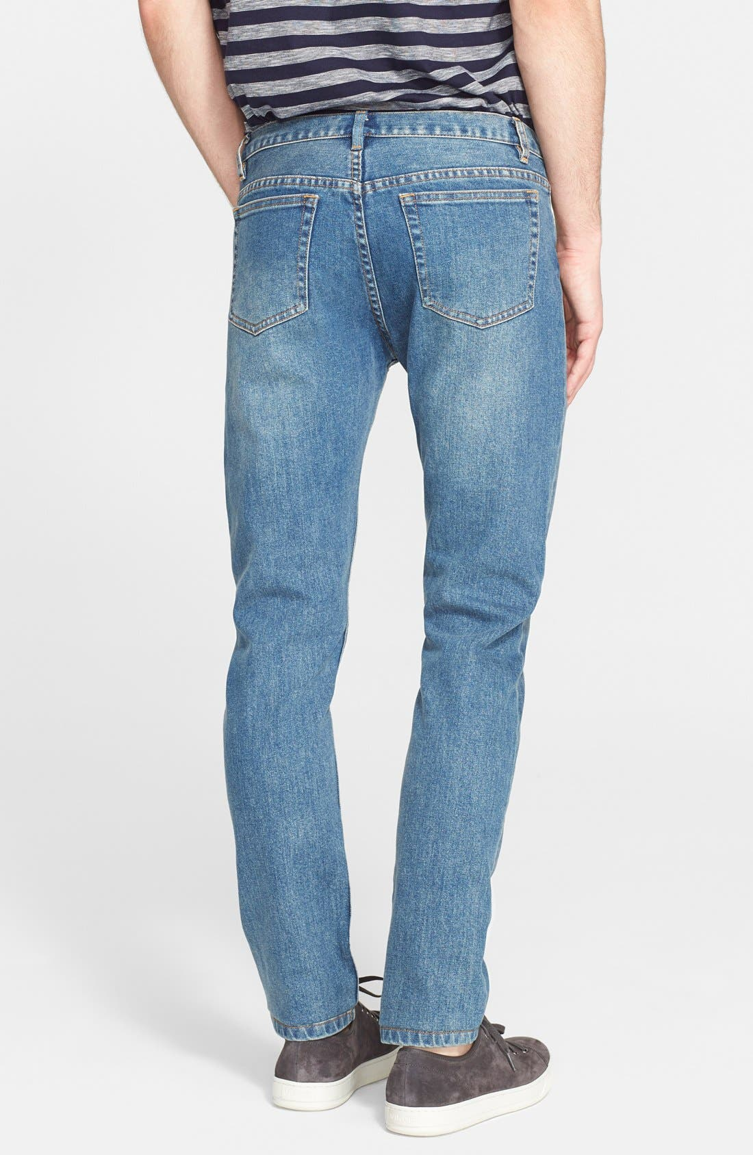 A.P.C., Petit New Standard Skinny Fit Jeans, Alternate thumbnail 2, color, INDIGO