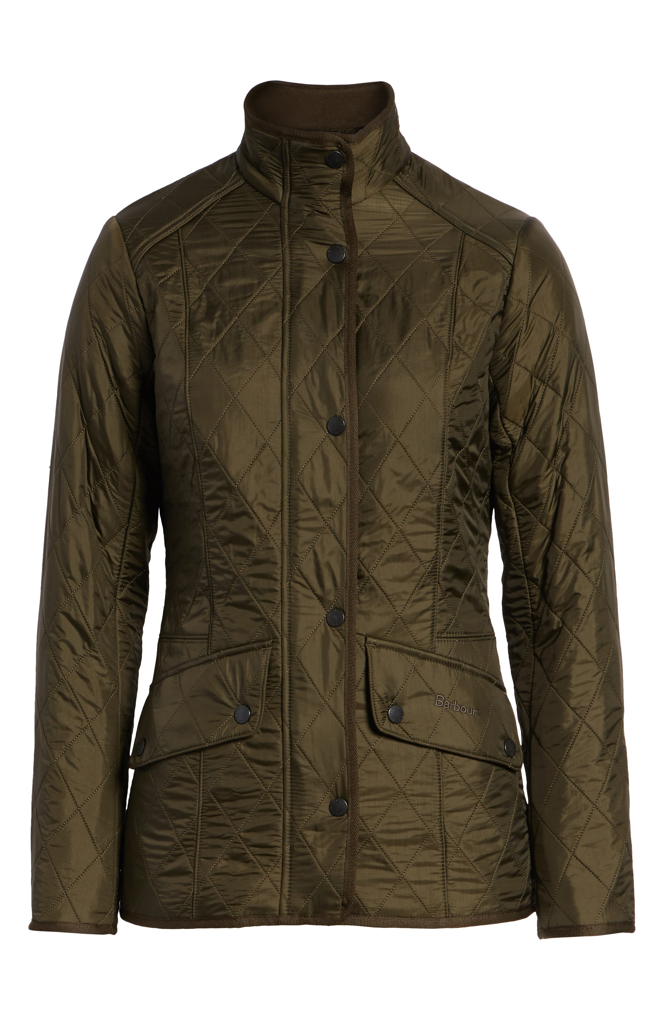 BARBOUR, 'Cavalry' Quilted Jacket, Alternate thumbnail 5, color, DARK OLIVE/ OLIVE