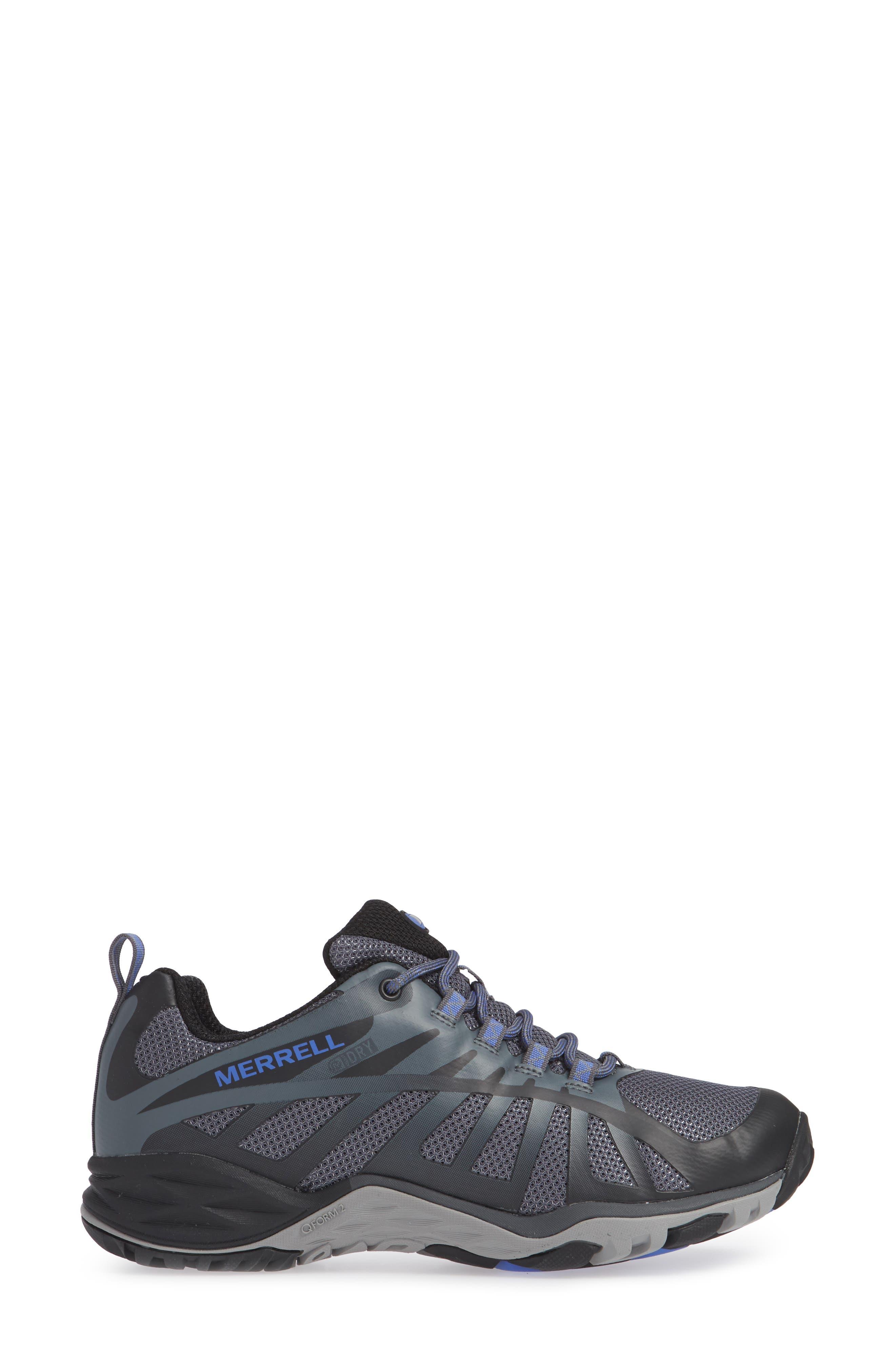 MERRELL, Siren Edge Waterproof Q2 Hiking Shoe, Alternate thumbnail 3, color, BLACK FABRIC