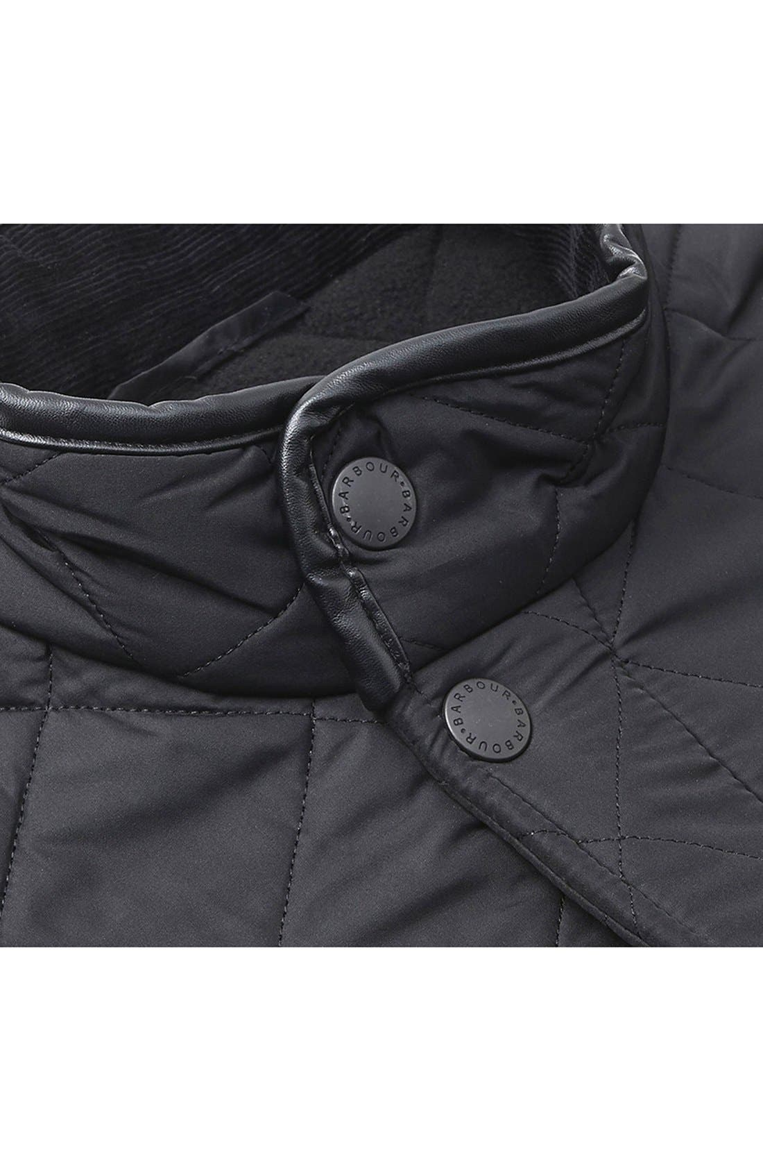 BARBOUR, 'Powell' Regular Fit Quilted Jacket, Alternate thumbnail 4, color, BLACK