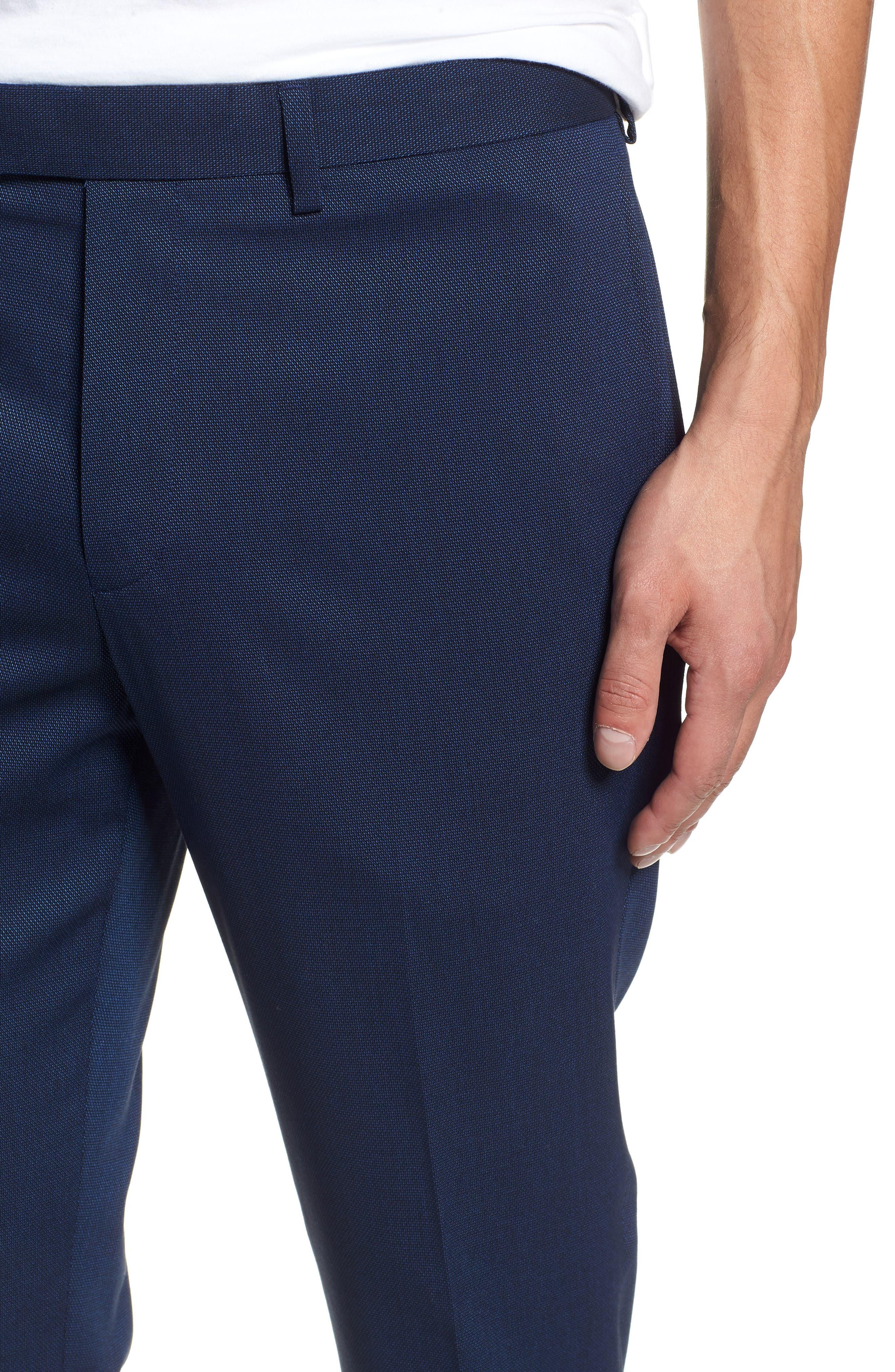 TOPMAN, Skinny Fit Suit Pants, Alternate thumbnail 4, color, MID BLUE