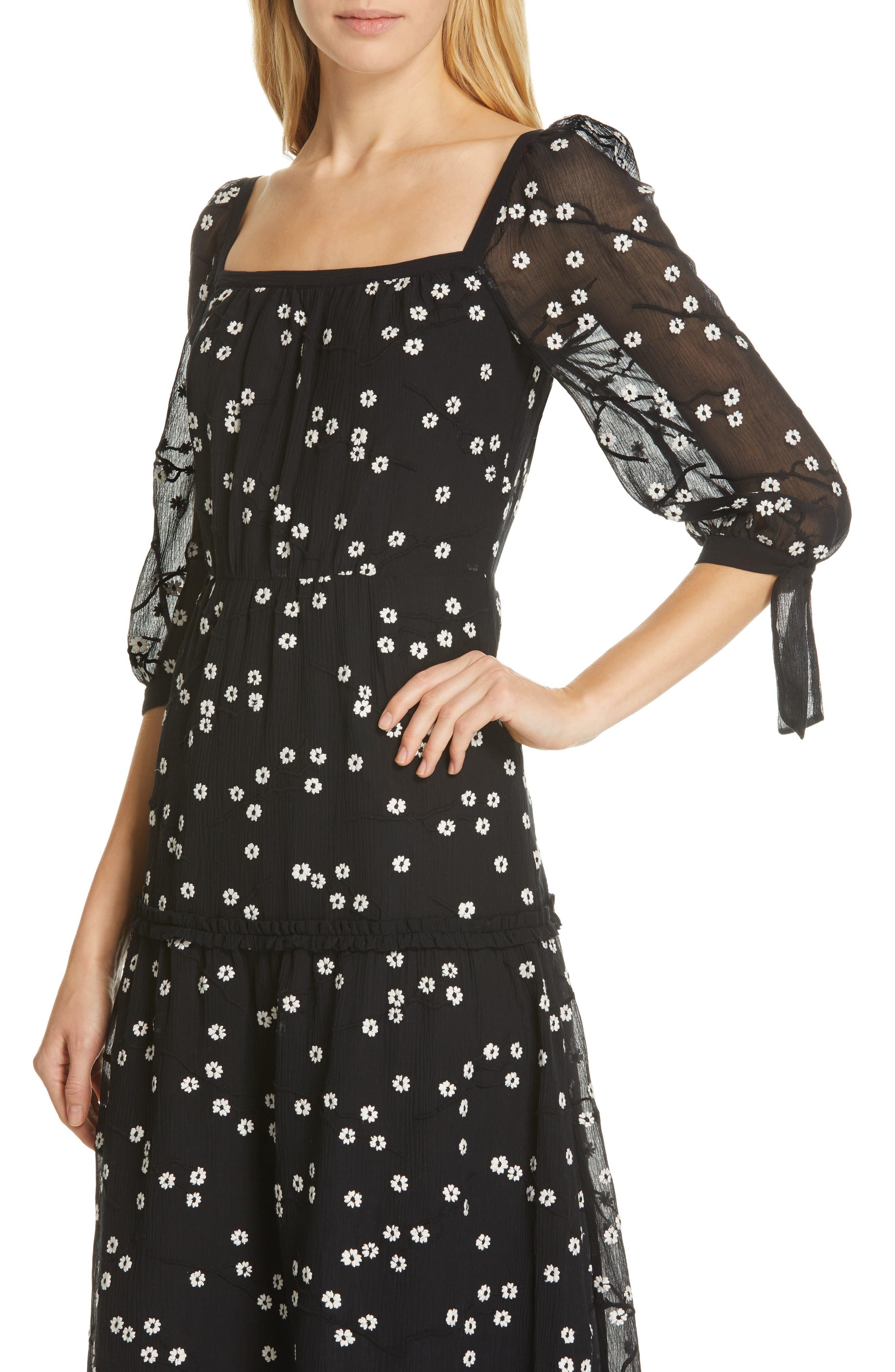 REBECCA TAYLOR, Allessandra Midi Dress, Alternate thumbnail 5, color, BLACK COMBO