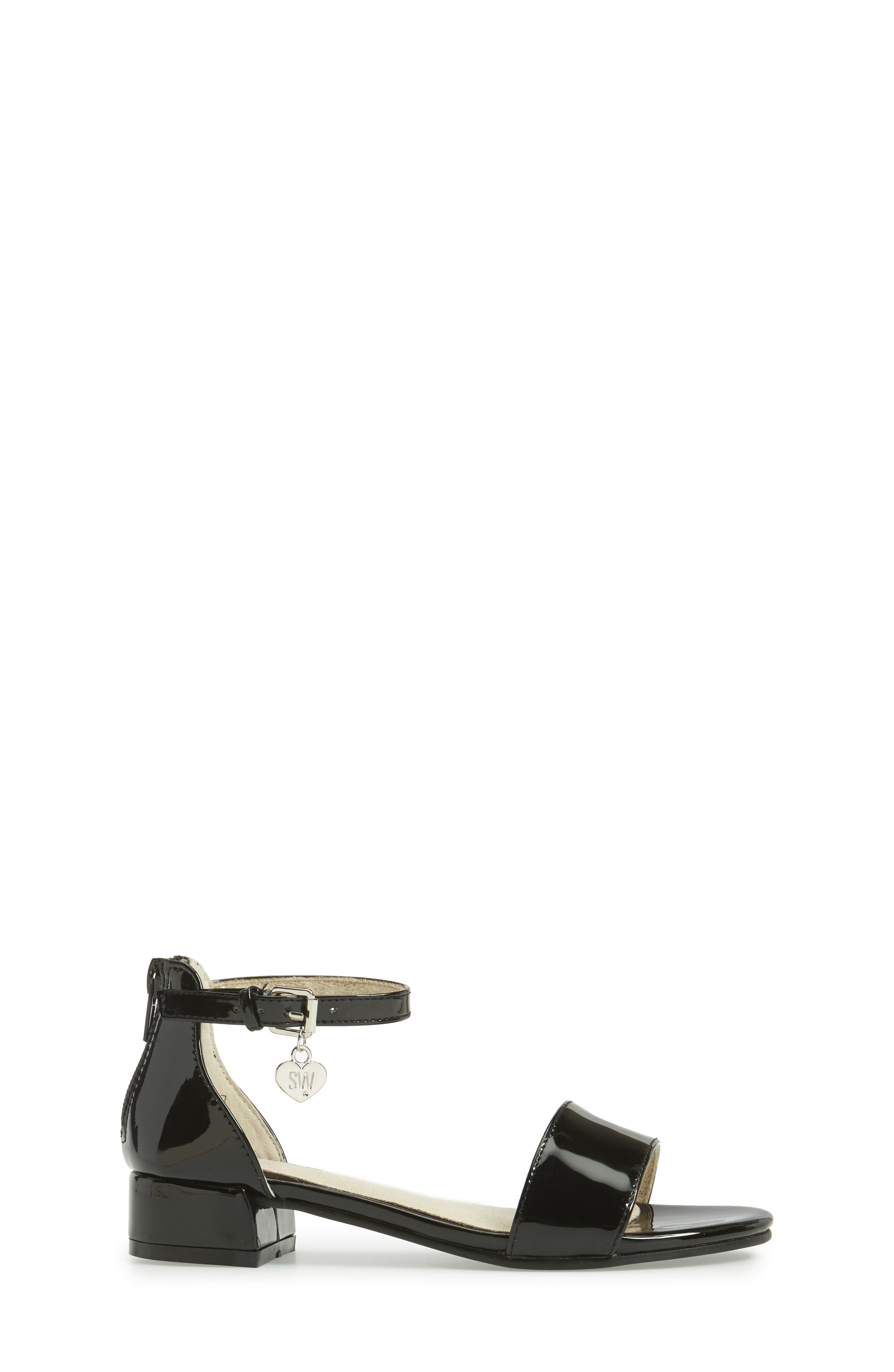 STUART WEITZMAN, Penelope Nola Sandal, Alternate thumbnail 3, color, BLACK FAUX PATENT