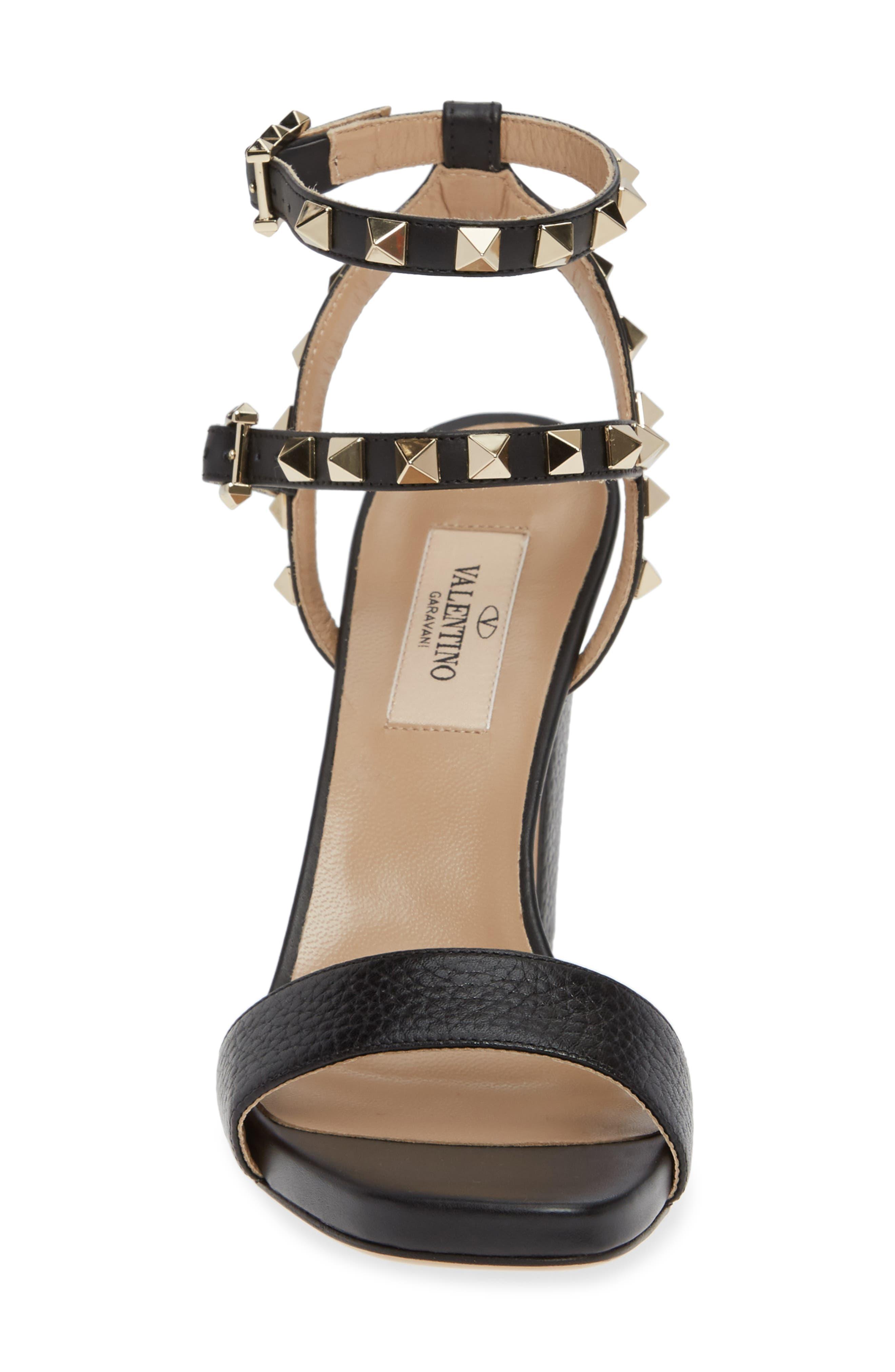 VALENTINO GARAVANI, Rockstud Ankle Strap Block Sandal, Alternate thumbnail 4, color, BLACK/ BLACK