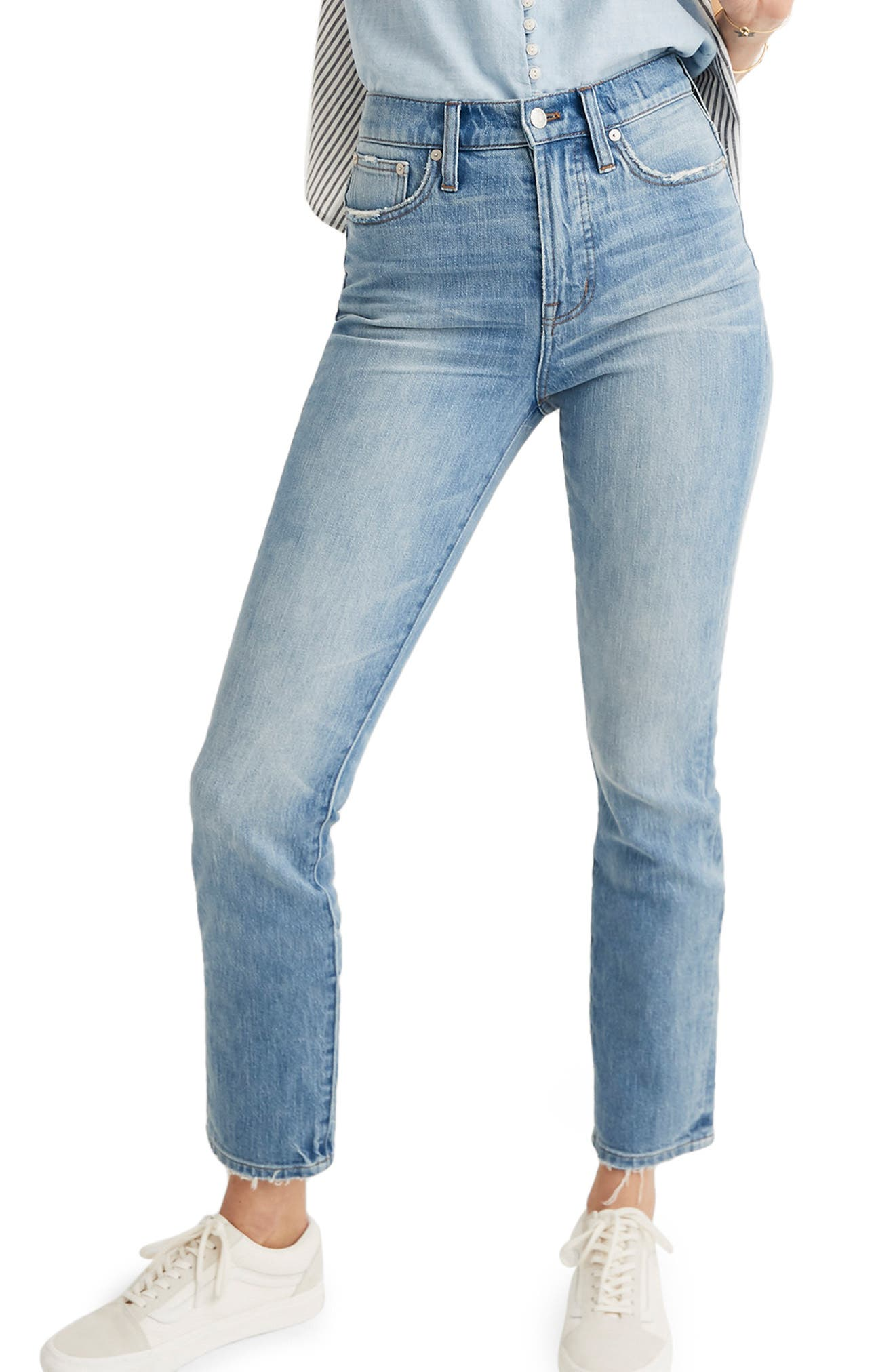 MADEWELL, The Perfect Vintage Heart Patch High Waist Jeans, Main thumbnail 1, color, ATWATER WASH