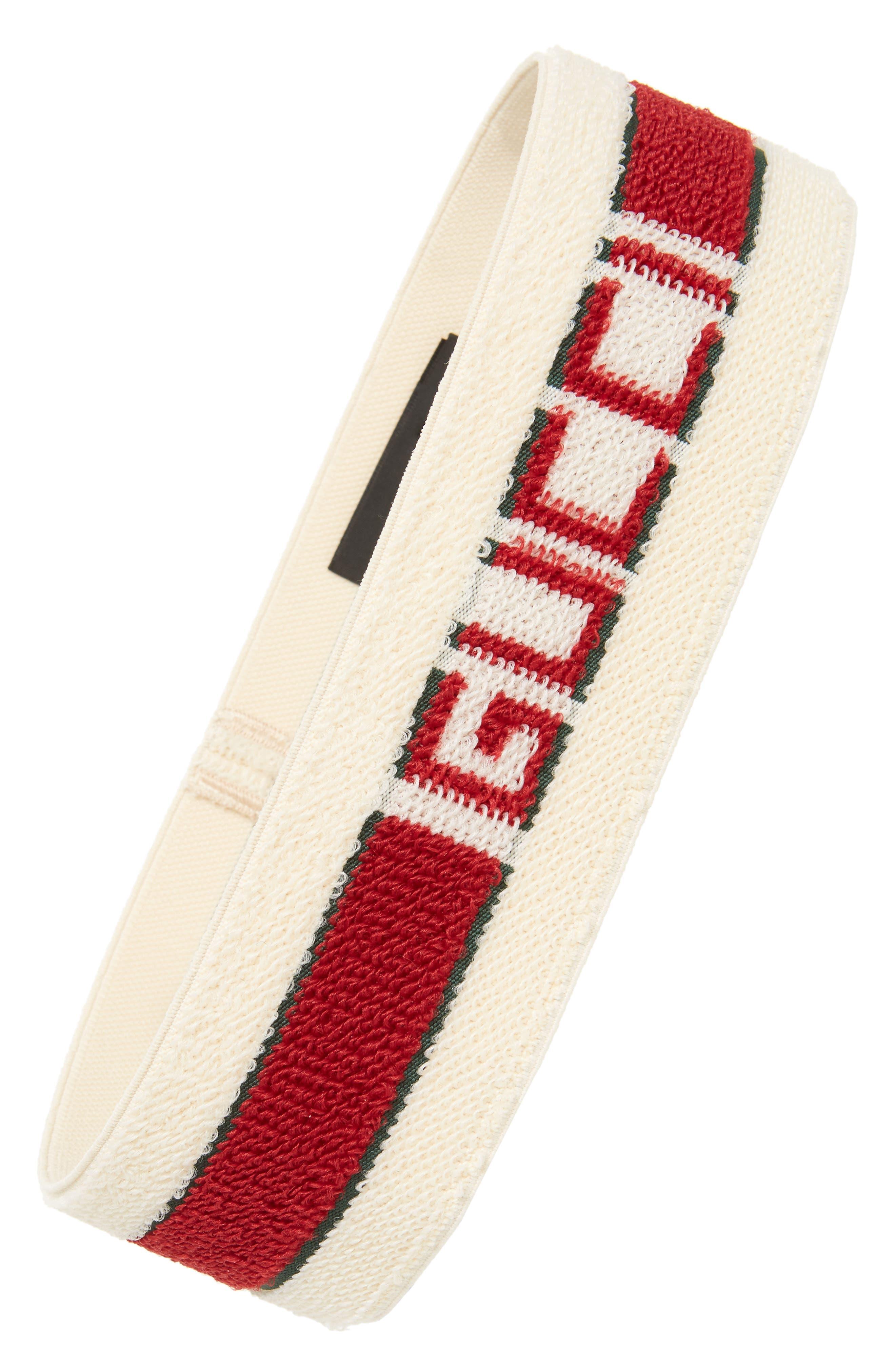GUCCI, Logo Stripe Headband, Main thumbnail 1, color, IVORY/ DARK GREEN