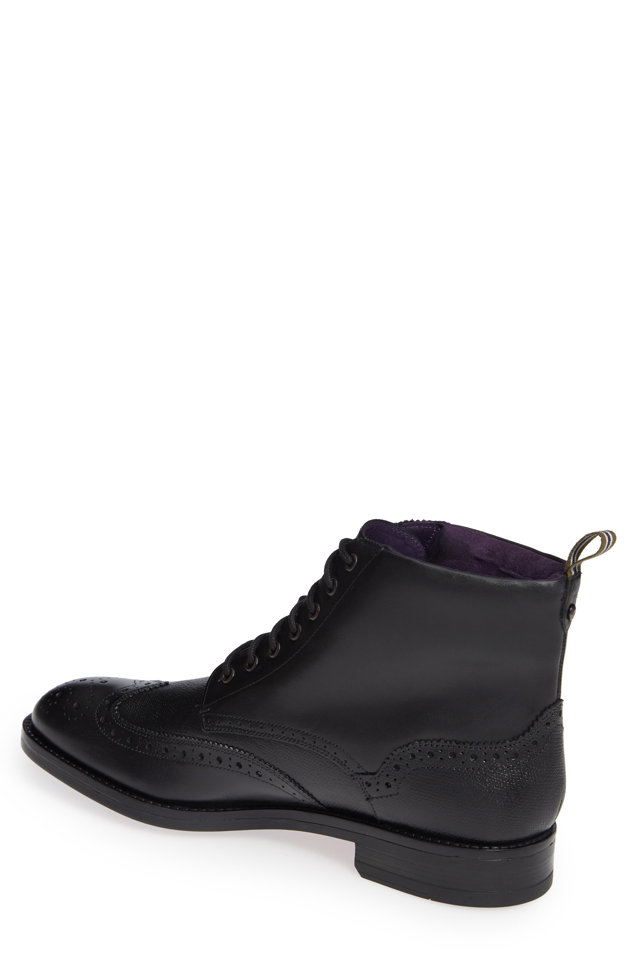 TED BAKER LONDON, Twrens Wingtip Boot, Alternate thumbnail 2, color, BLACK LEATHER