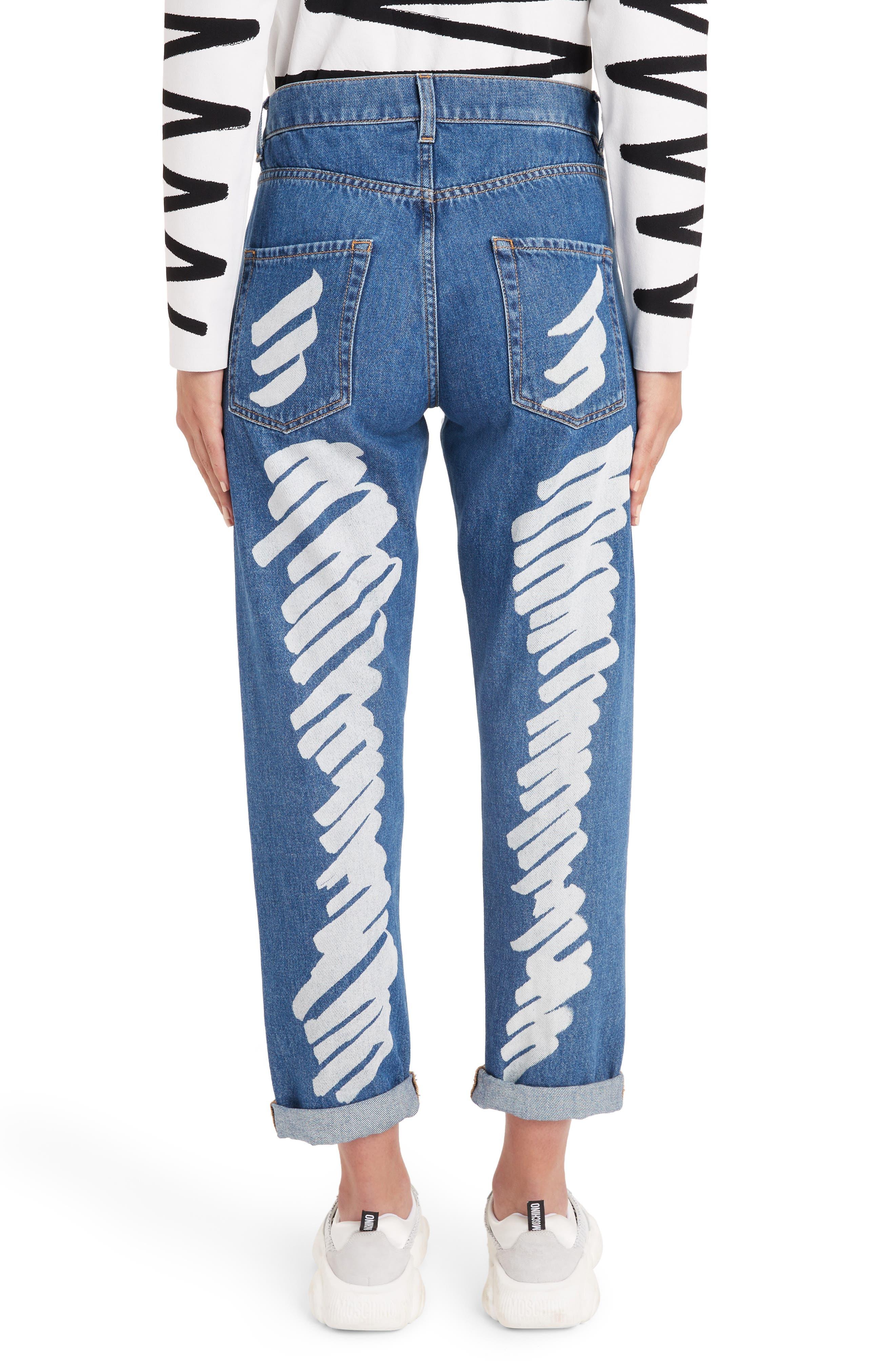 MOSCHINO, Scribble Straight Leg Jeans, Alternate thumbnail 2, color, DENIM