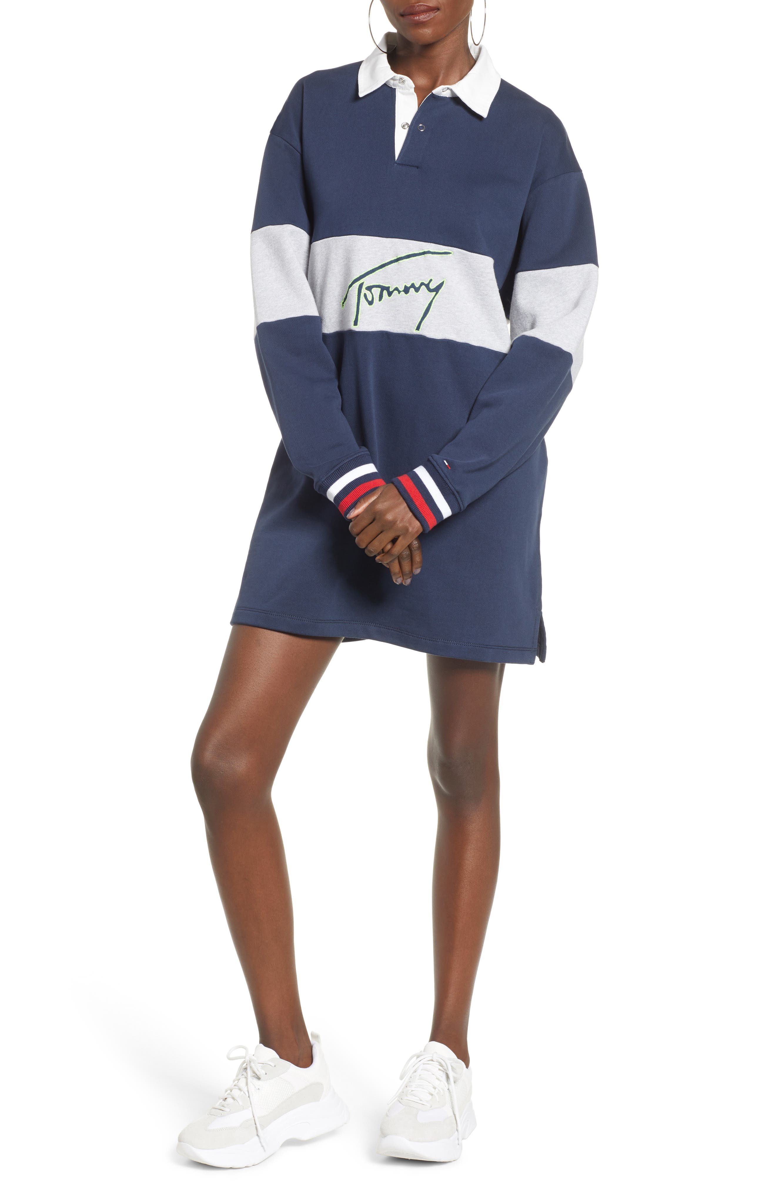 TOMMY JEANS Logo Rugby Dress, Main, color, 400