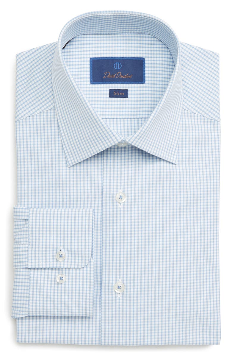 David Donahue Dresses SLIM FIT CHECK DRESS SHIRT