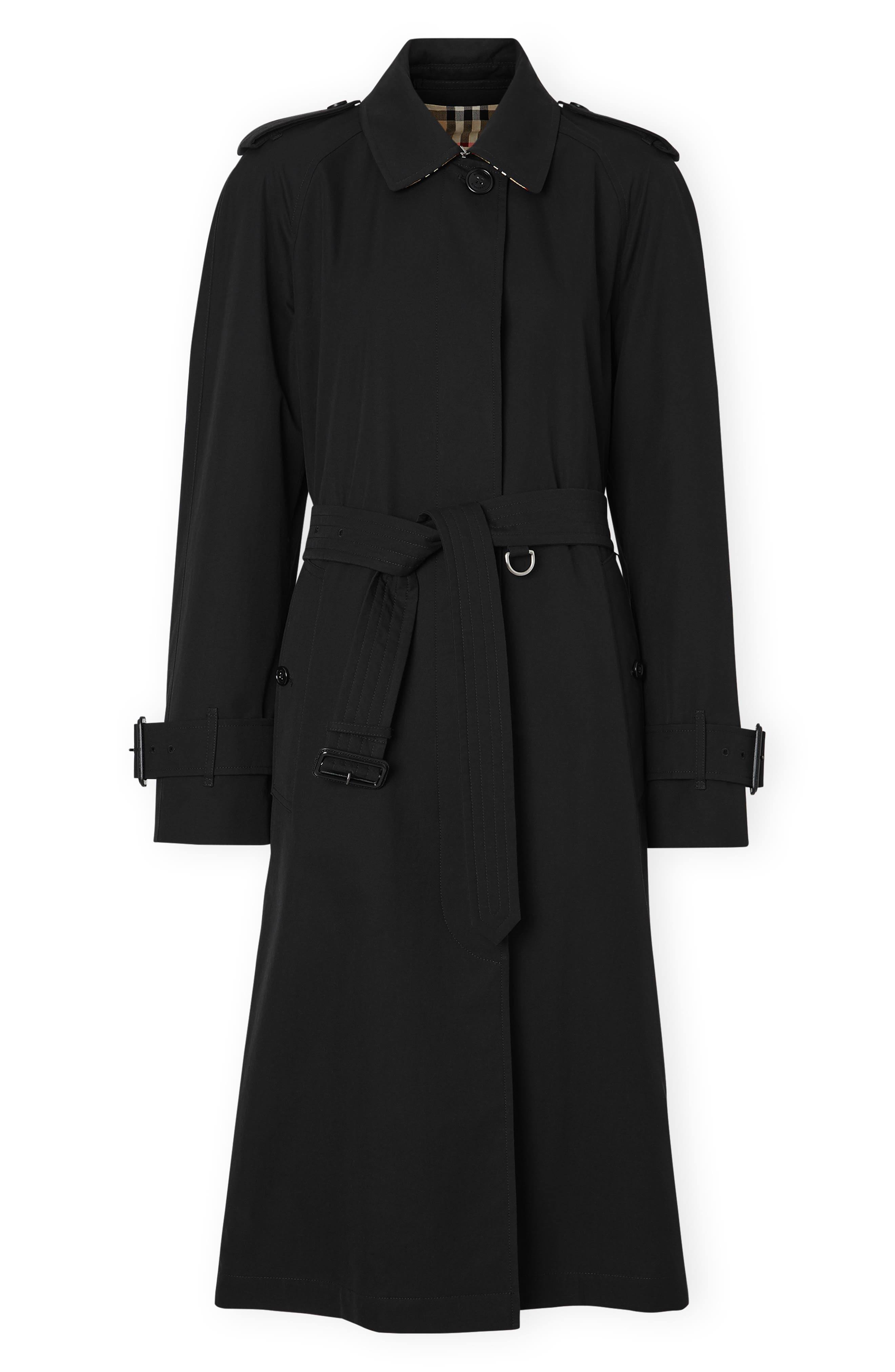 BURBERRY, Crostwick Side Slit Tropical Gabardine Trench Coat, Alternate thumbnail 5, color, BLACK