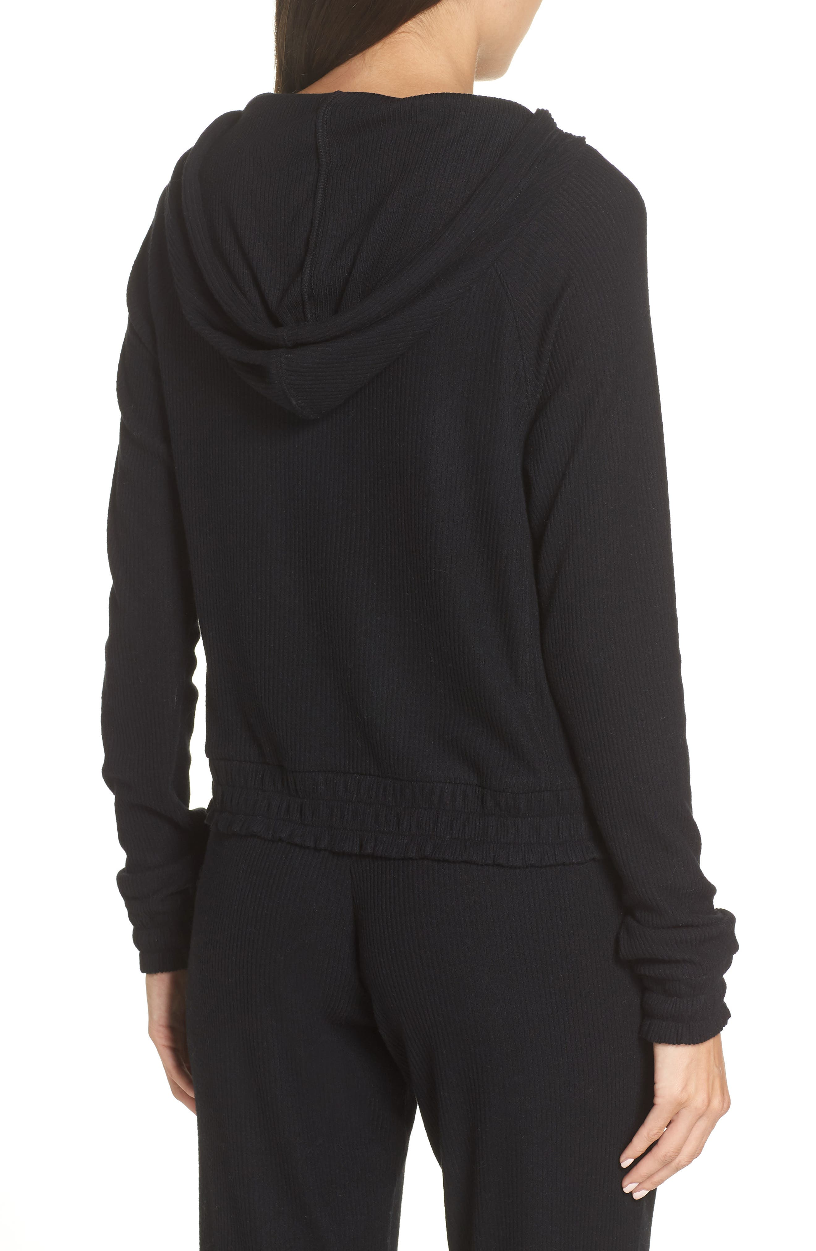 MAKE + MODEL, Cozy Up Cropped Ribbed Hoodie, Alternate thumbnail 2, color, 001