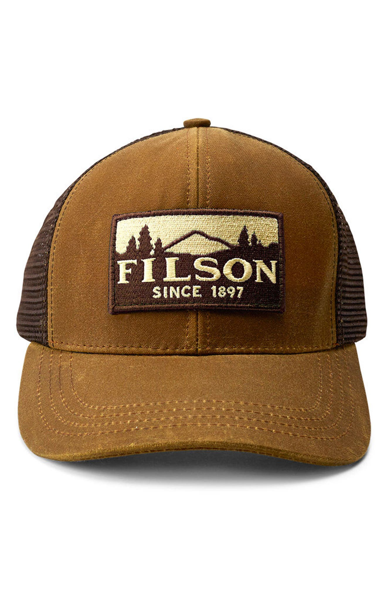 FILSON, Logger Trucker Hat, Main thumbnail 1, color, DARK TAN