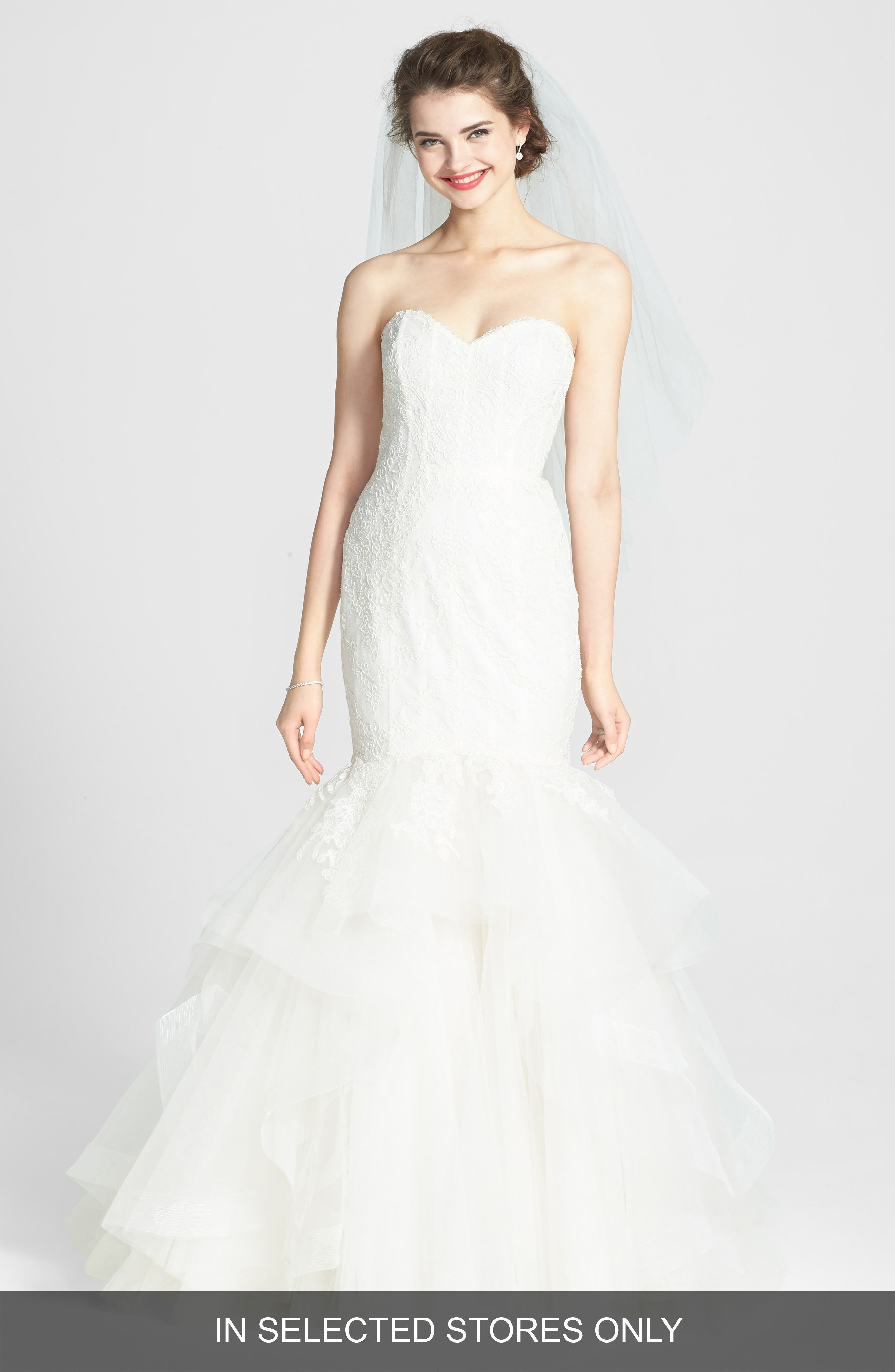 AMSALE, Carson French Lace & Tulle Mermaid Wedding Dress, Alternate thumbnail 3, color, 900
