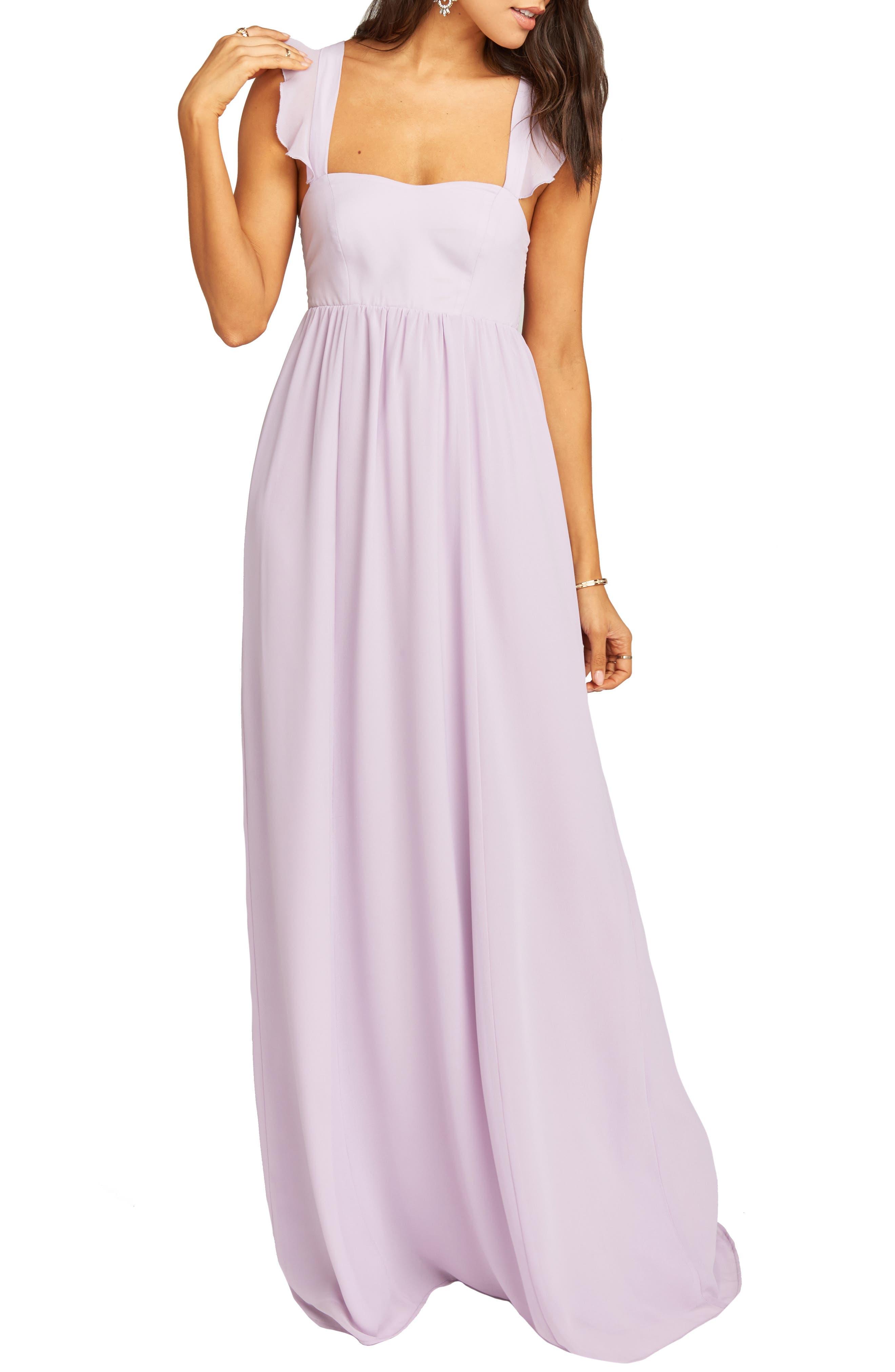 Show Me Your Mumu June Ruffle Strap Evening Dress, Purple