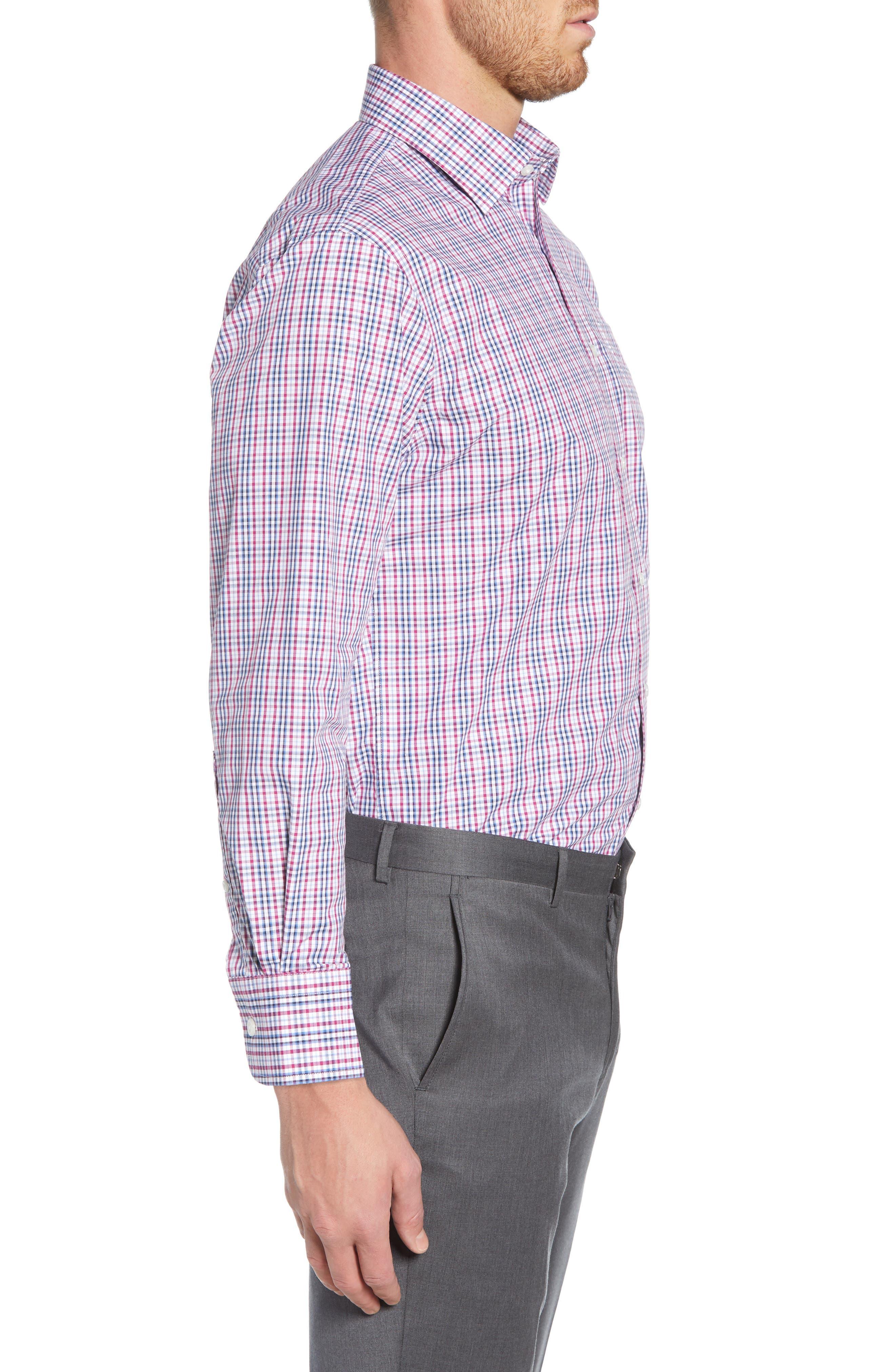 NORDSTROM MEN'S SHOP, Traditional Fit Non-Iron Plaid Dress Shirt, Alternate thumbnail 4, color, PURPLE BOYSEN