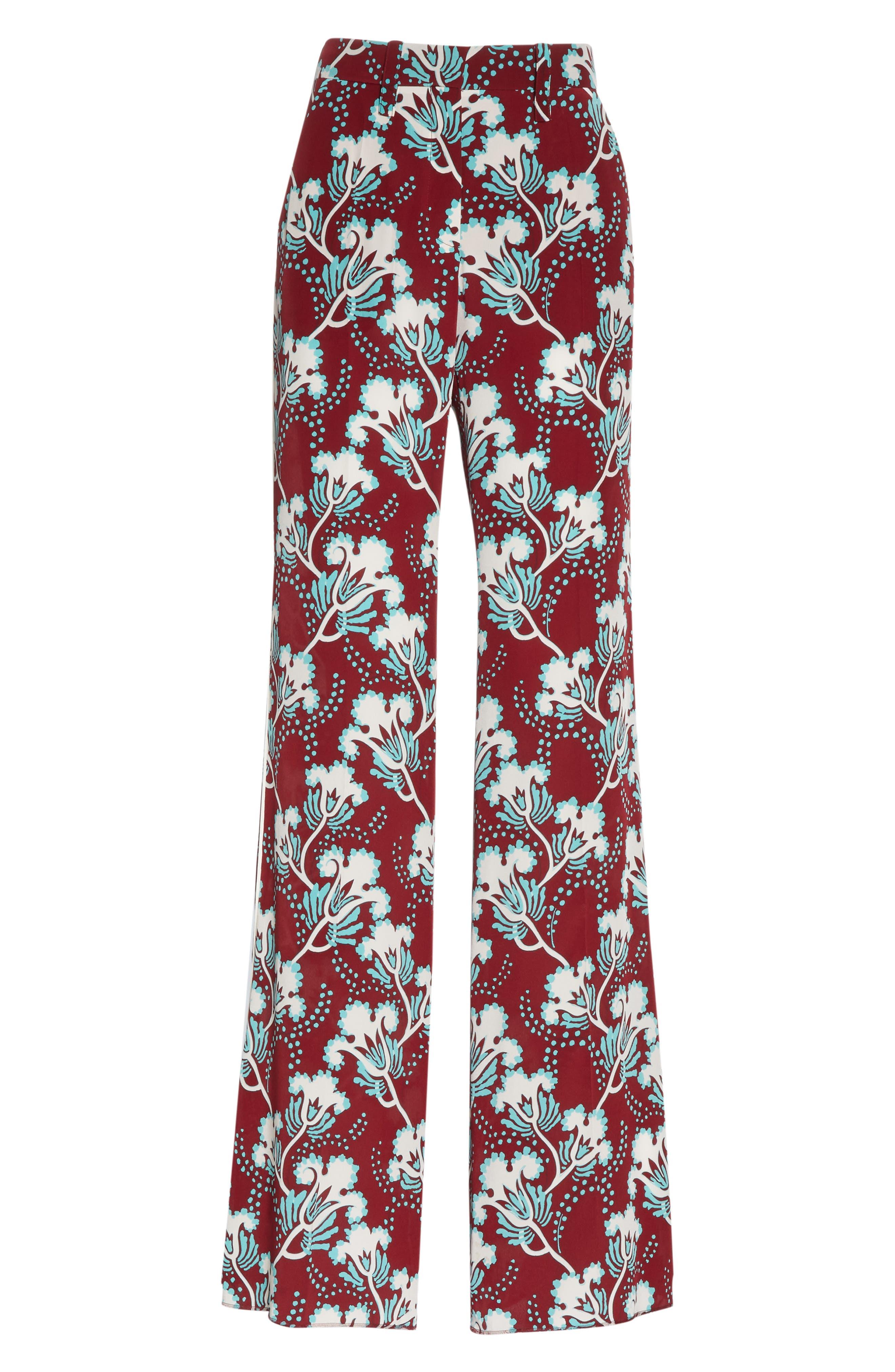 VALENTINO, Elderflower Print Wide Leg Silk Pants, Alternate thumbnail 6, color, GTB-GARNET/TURCHESE/BIANCO