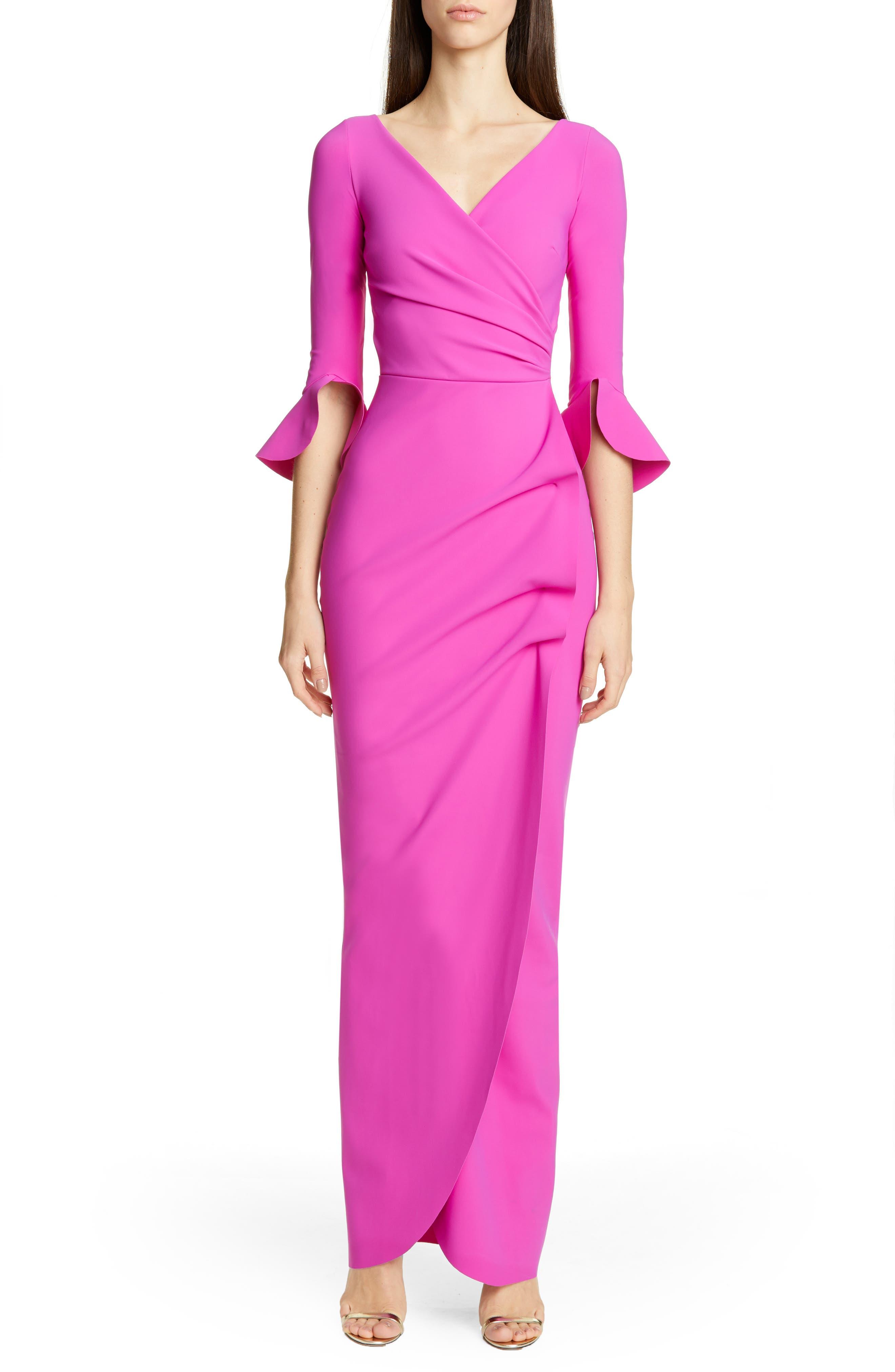 Chiara Boni La Petite Robe Ruched Bell Sleeve Evening Dress, 6 IT - Purple